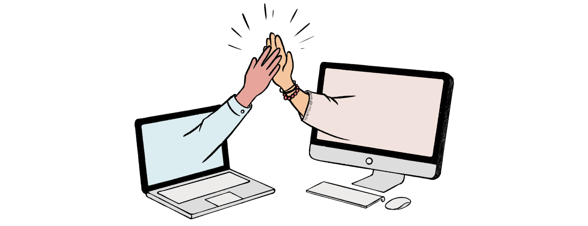 Abstract image depicting successful remote collaboration using two hands high-fiving from separate computers.