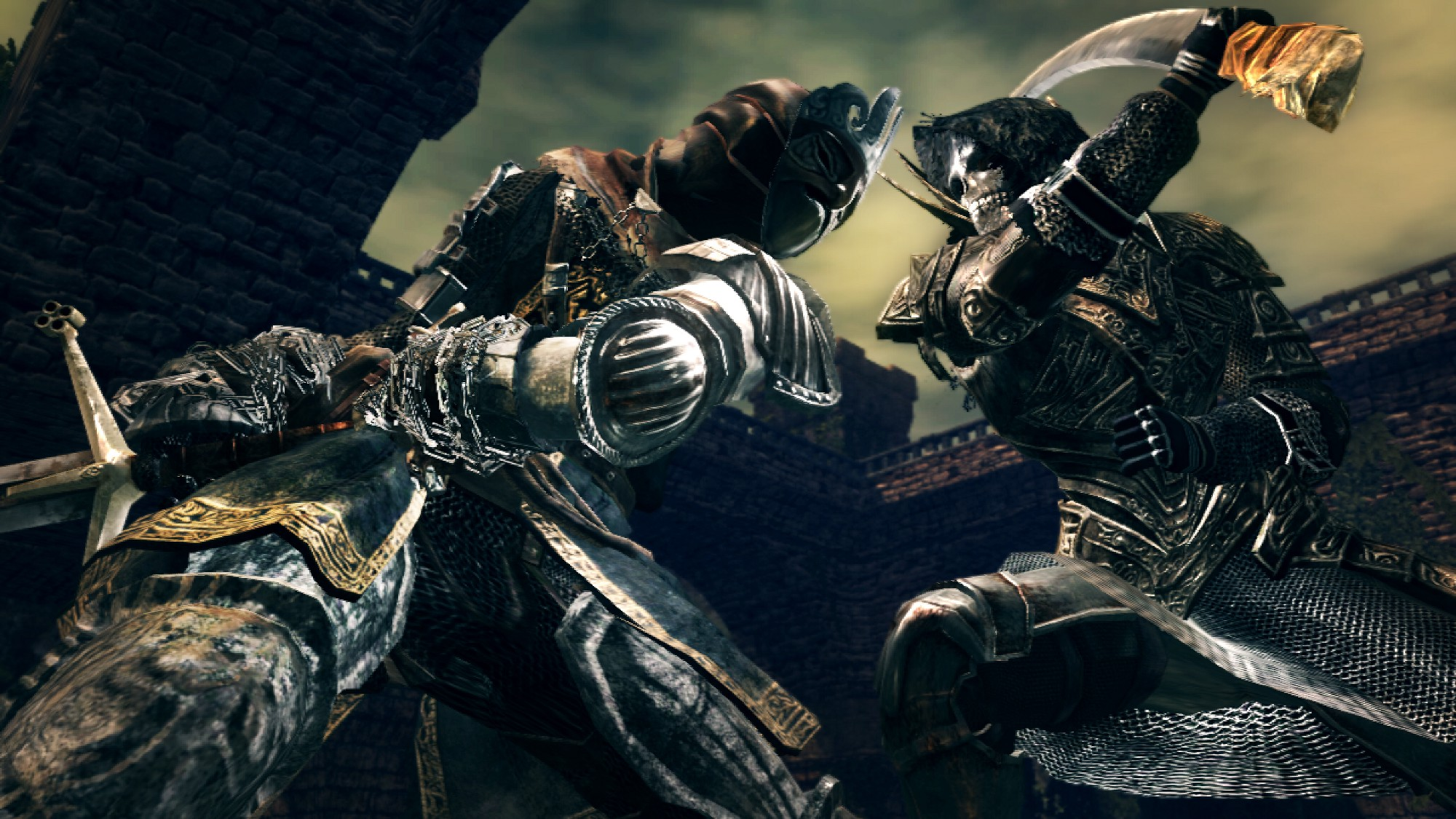 A sword-wielding knight and a knife-wielding skull-faced man face off outdoors in a courtyard under a yellow and blue sky.