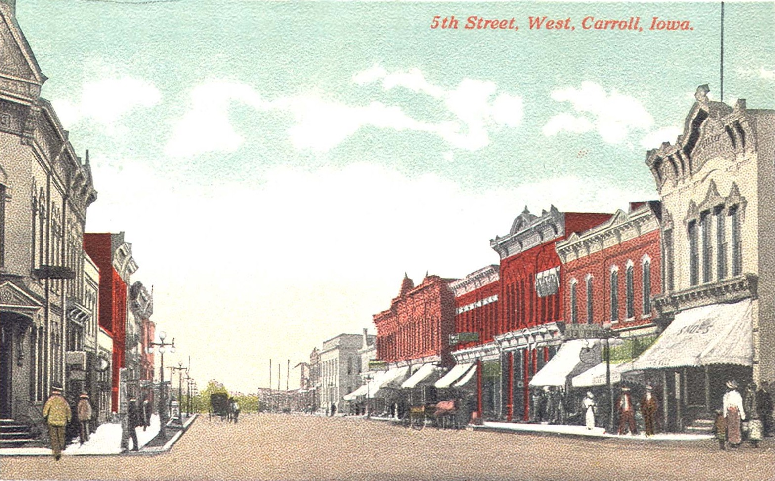 An antique, color postcard of 5th Street, Carroll, Iowa, from about 1915.