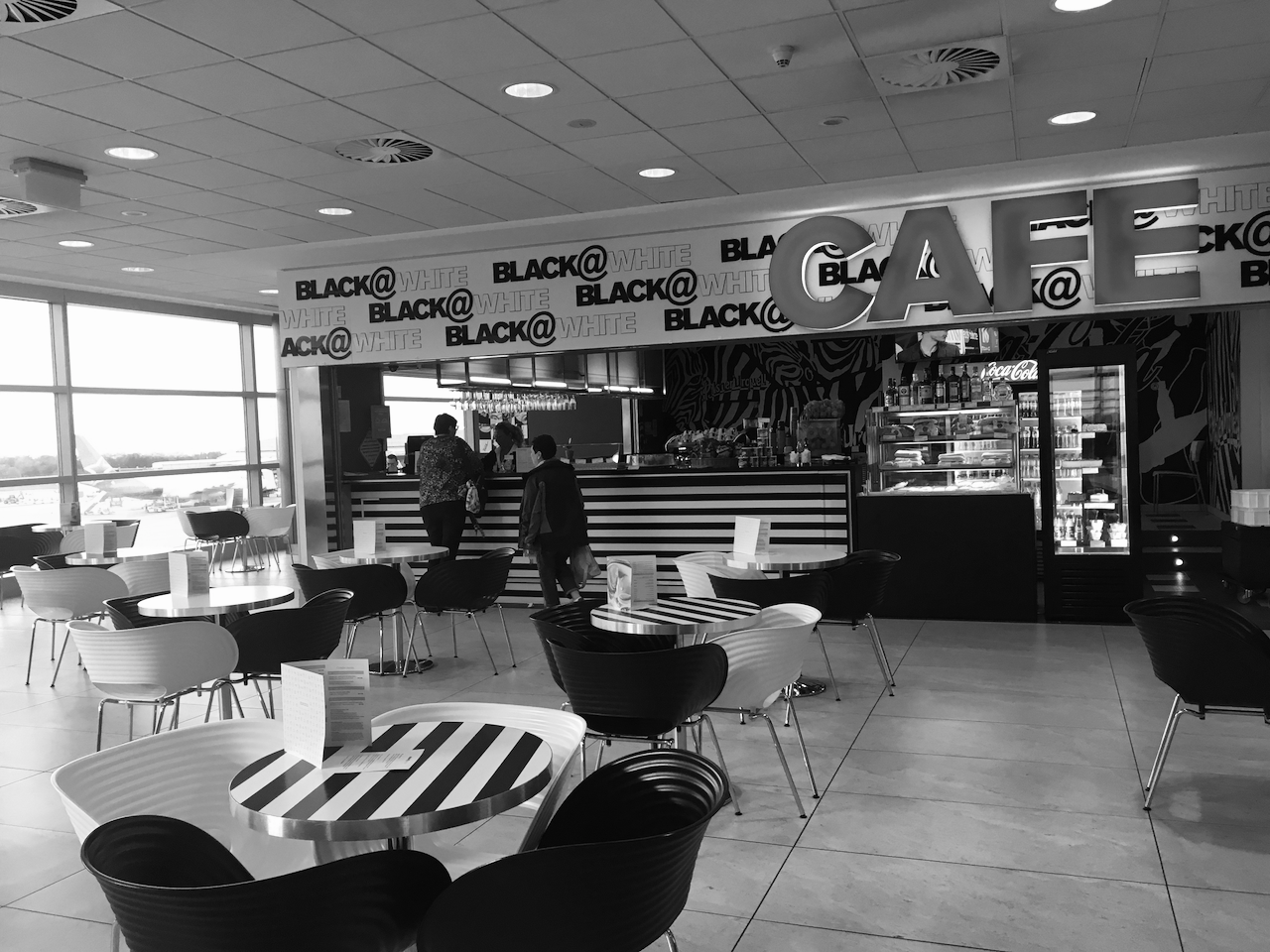 """Cafe """"Black@White"""" in the Vaclav Havel airport, Prague"""
