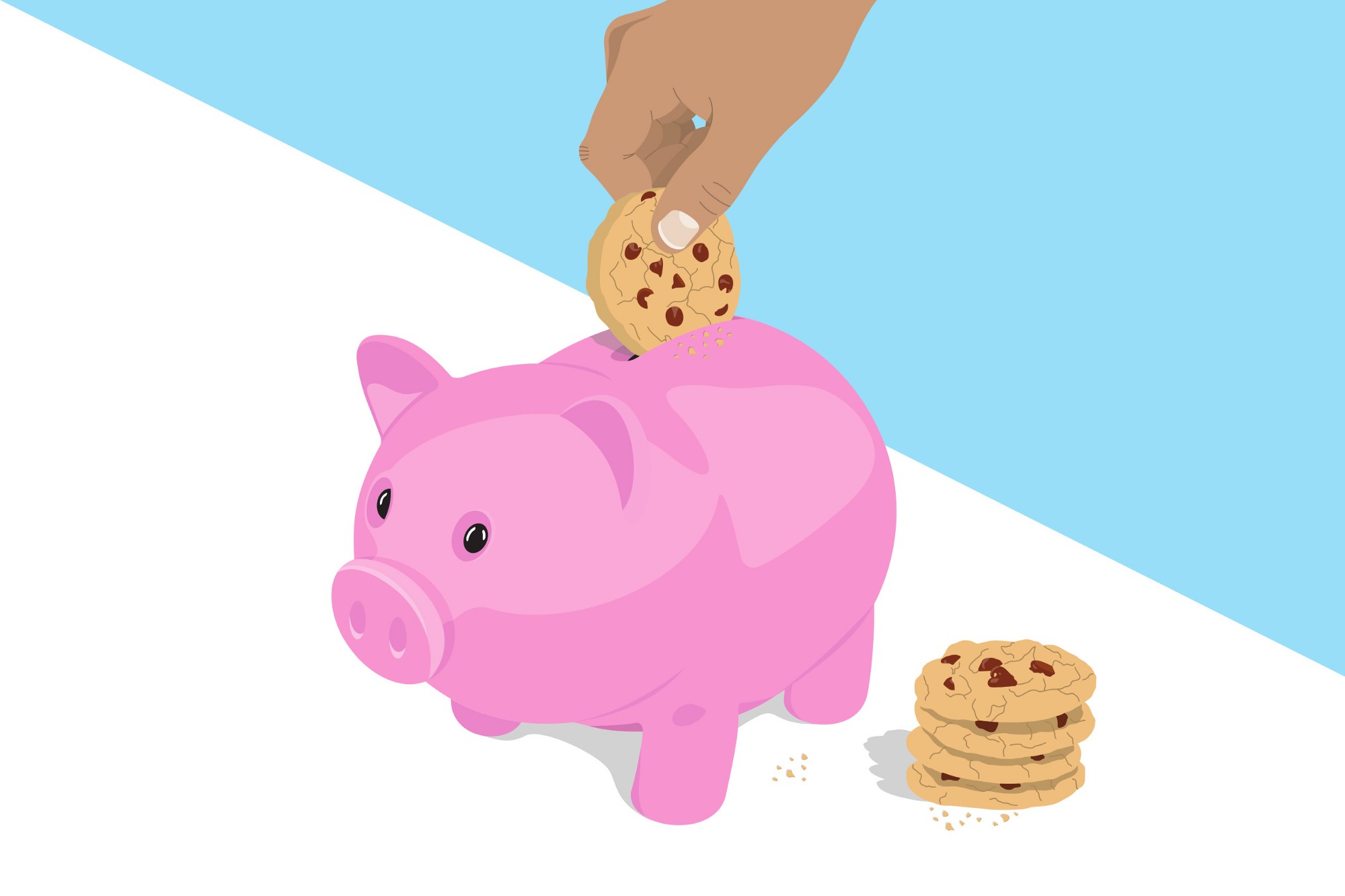 person putting cookies in piggy bank