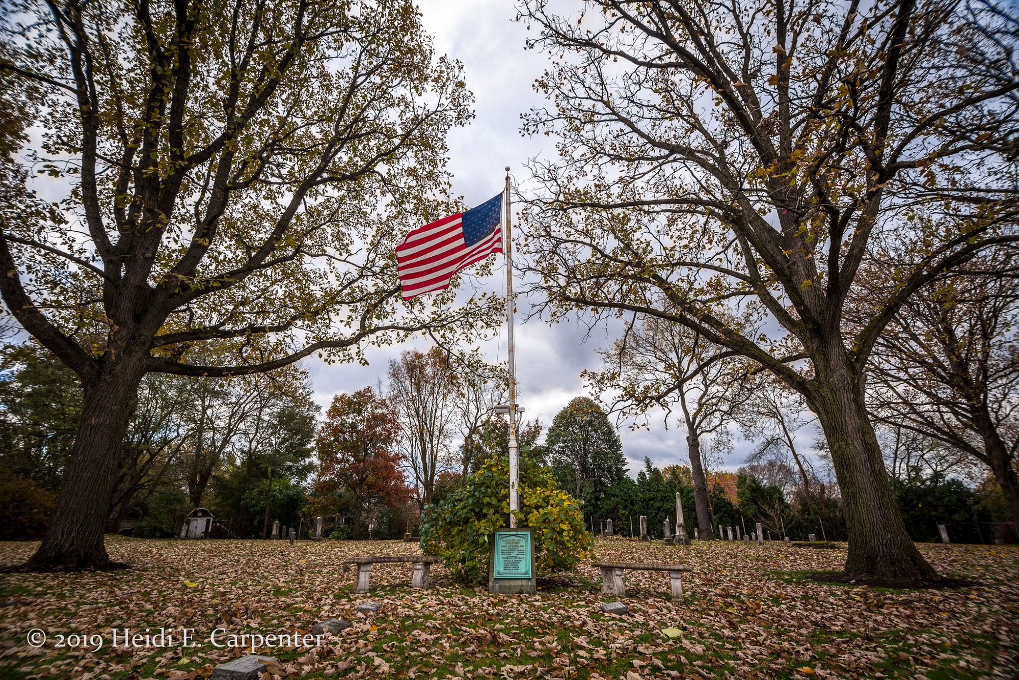 A flagpole with an American flag, flanked by trees, in a cemetery on an overcast autumn day.