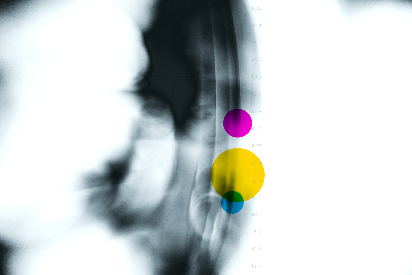 An abstract image that looks like an x-ray with cmyk color dots overlaying it.
