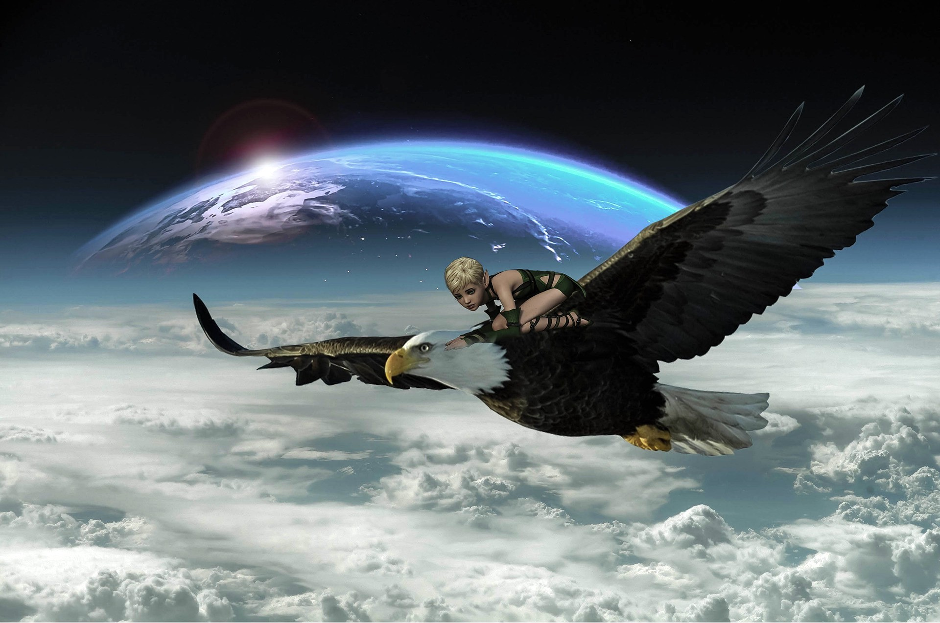 A surreal image of a bald eagle in flight above a dense layer of white clouds. A blue sphere with white markings, resembling planet Earth as seen from space, is in the background and partially hidden by the clouds. A radiant dot shines on the surface of the blue sphere in the same way sunshine is known to reflect on planet Earth. Crouched on the back of the eagle is a young girl with pointed ears like a pixie, short cropped blond hair and a sleeveless-legless black bodysuit.