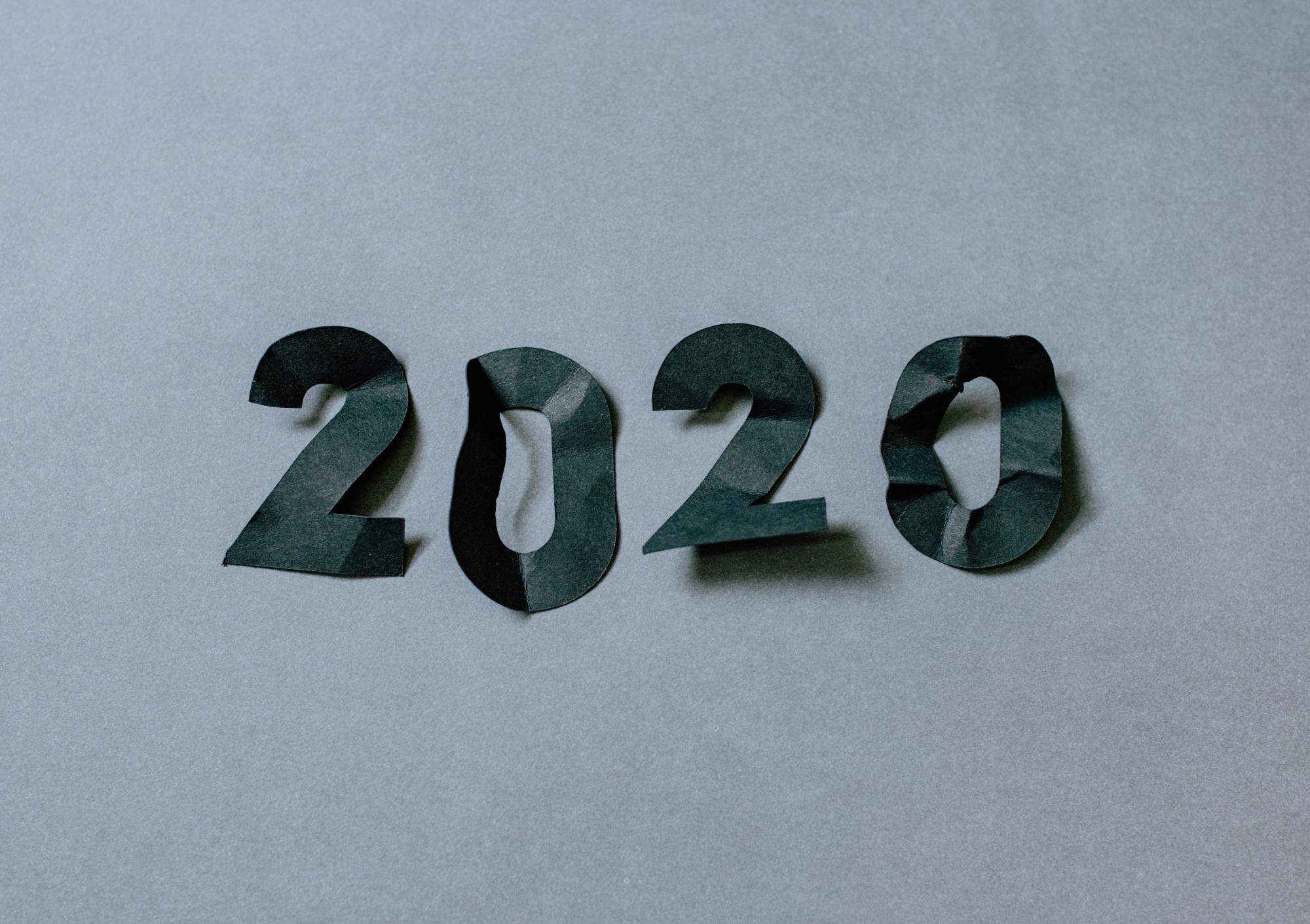 2020 numbers in crinckled paper cut-out