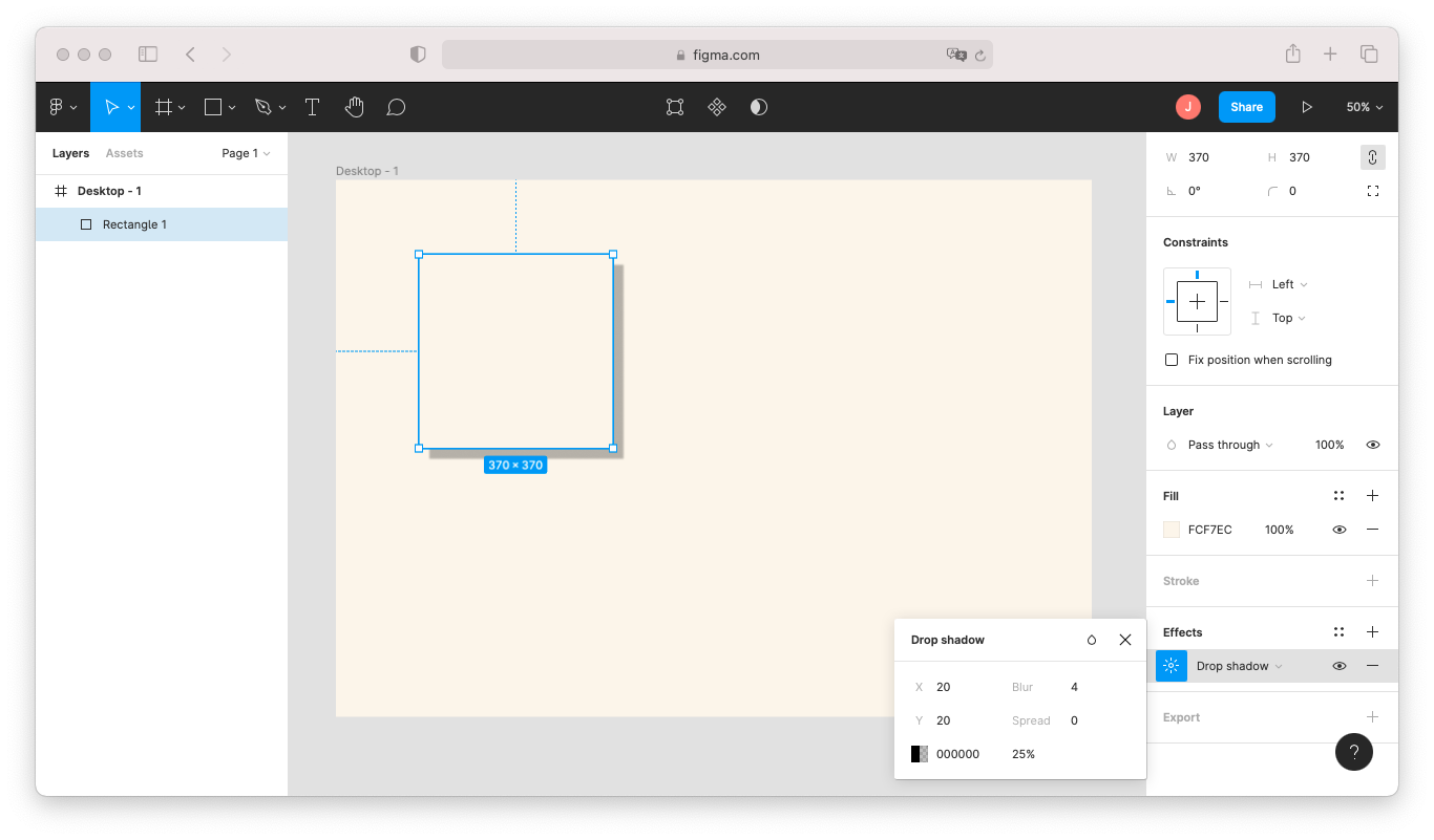 How to add a drop shadow in Figma: with a shape selected, go to the properties panel on the right-hand side and click the Plus Sign under Effects to add a new effect. This effect is a drop shadow by default.