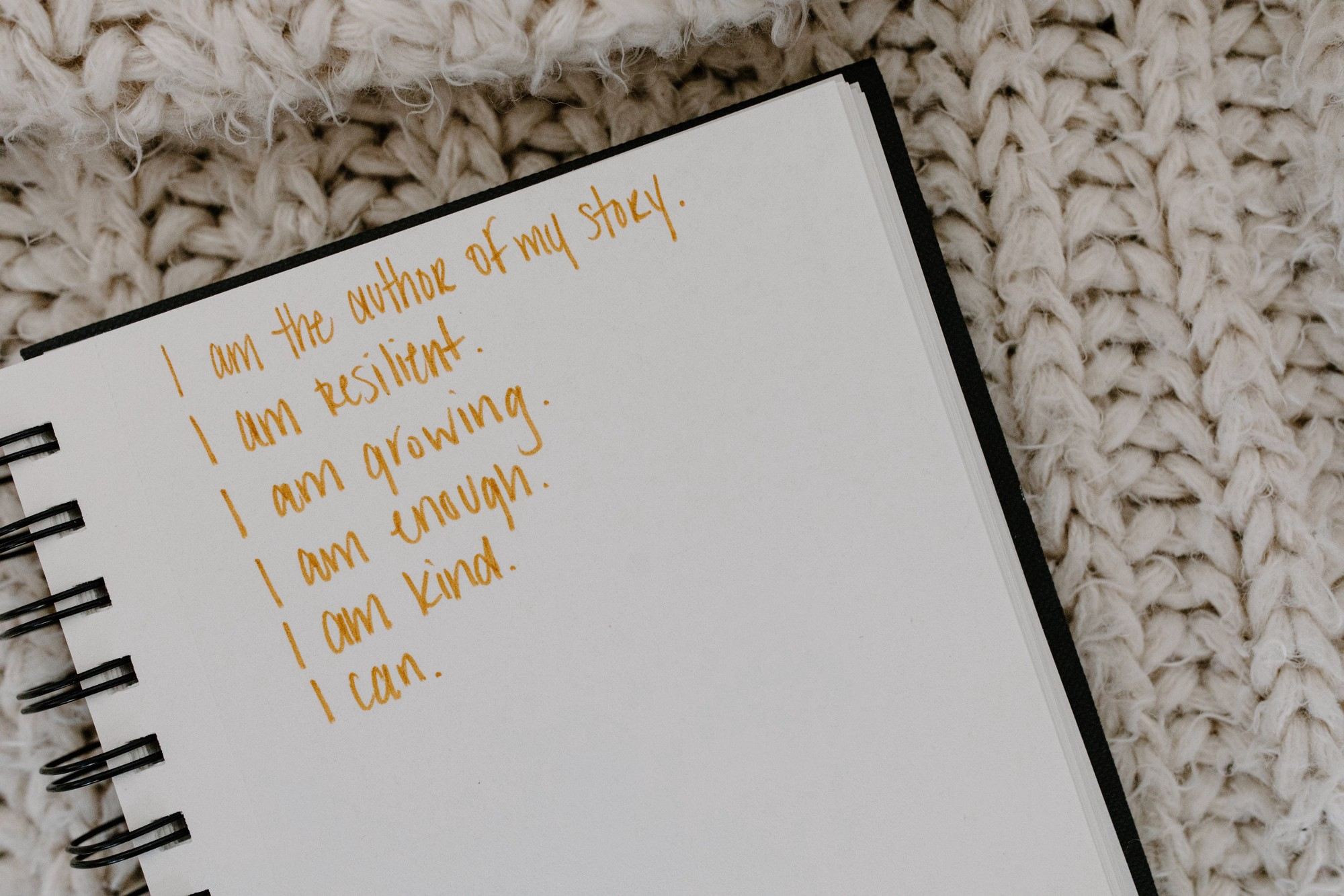 """Notebook with """"I am"""" affirmations"""