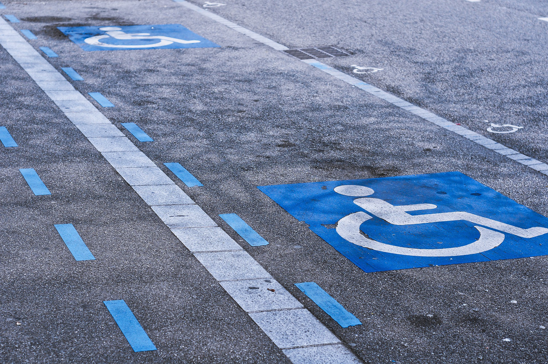 A row of handicapped parking spaces