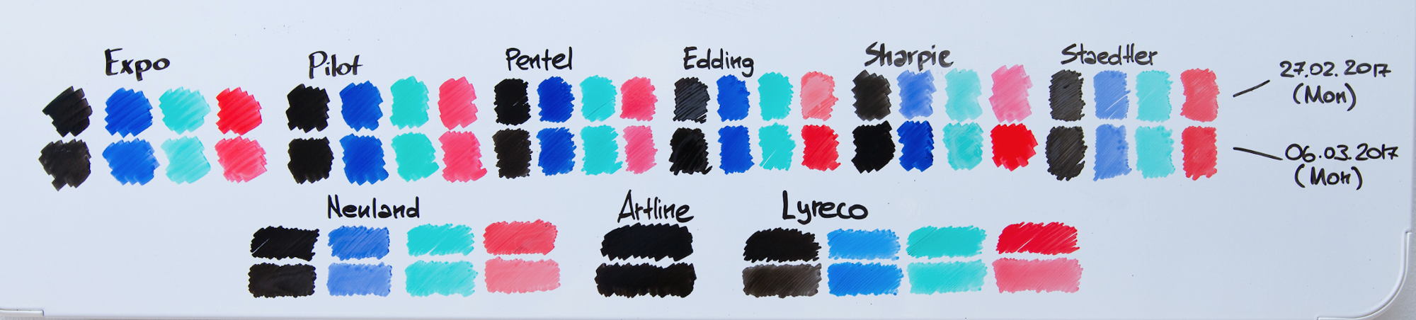352165a36c Each of the basic colour was drawn twice — first the upper row, and then the  bottom row in 1 week time. Swatches are drawn close to each other ...