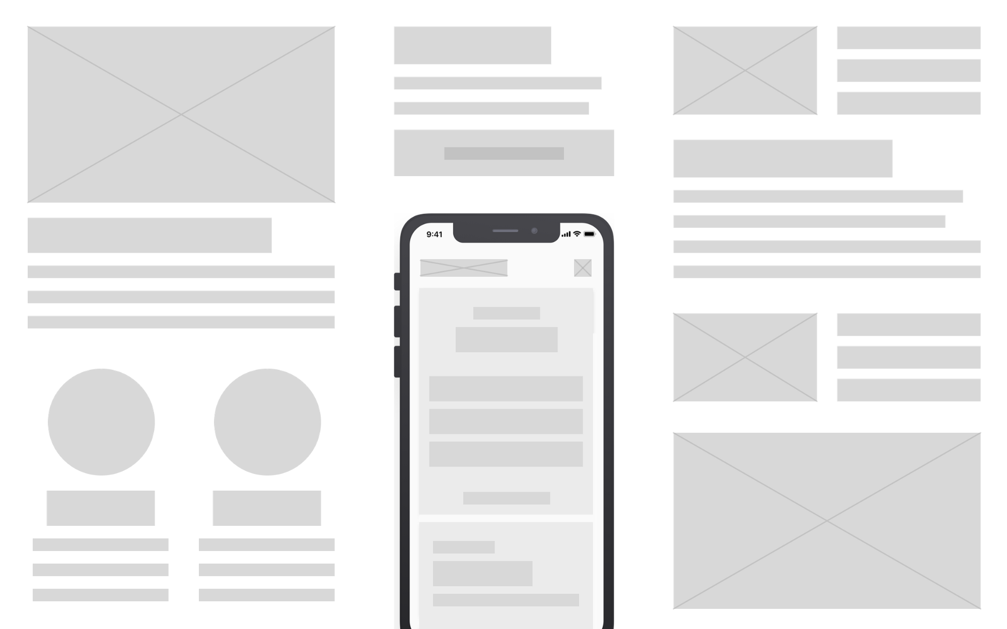 Wireframe components and a mobile