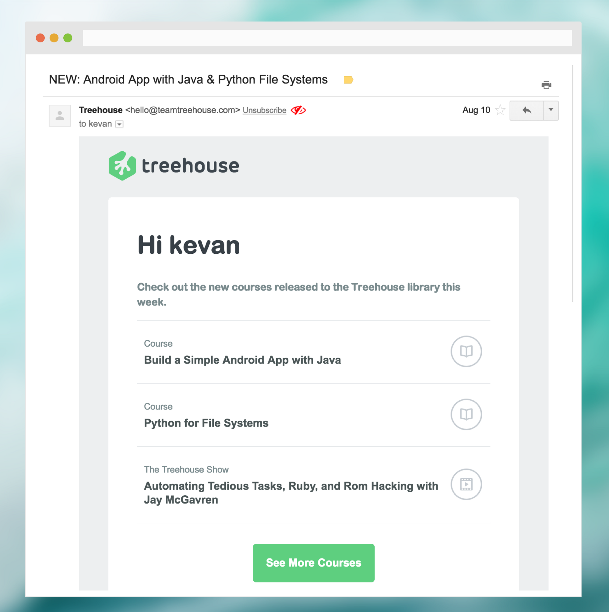How Treehouse sends onboarding email - Aloha — Welcome Emails - Medium