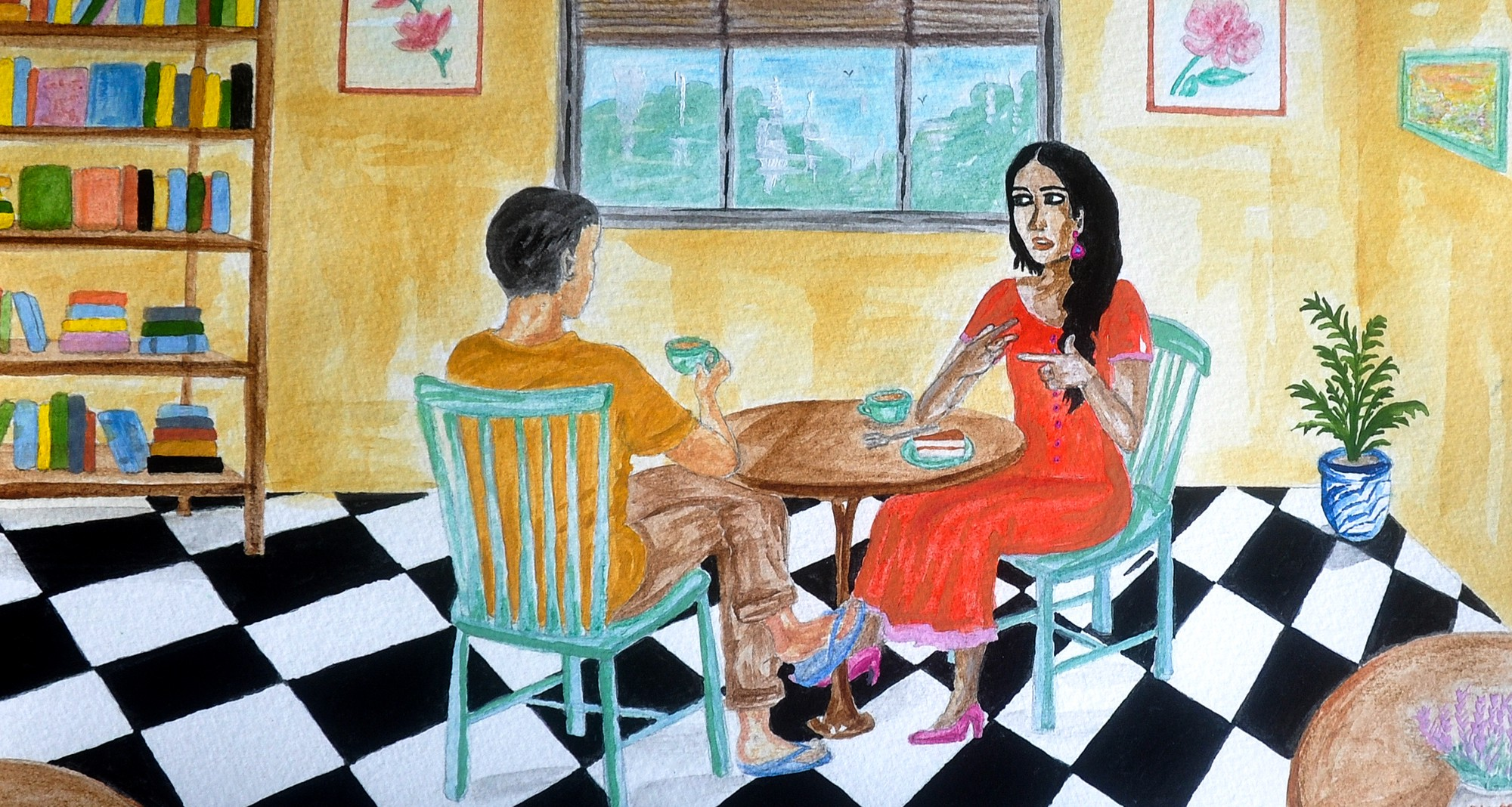 An illustration of two people seated across a table in a room and having a conversation. One of them is signing to the other.