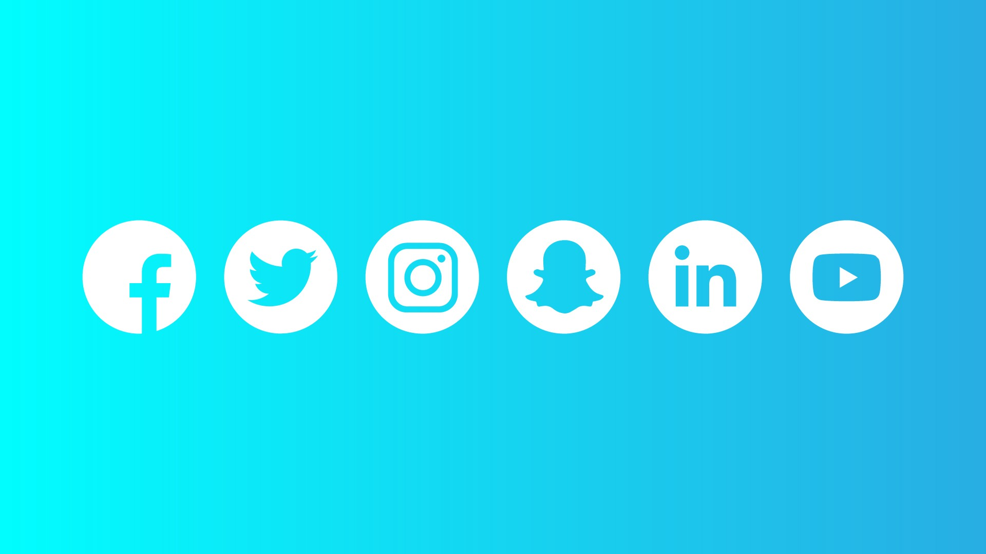 A blue graphic showing the symbols for Facebook, Twitter, Instagram, Snapchat, LinkedIn, and YouTube.