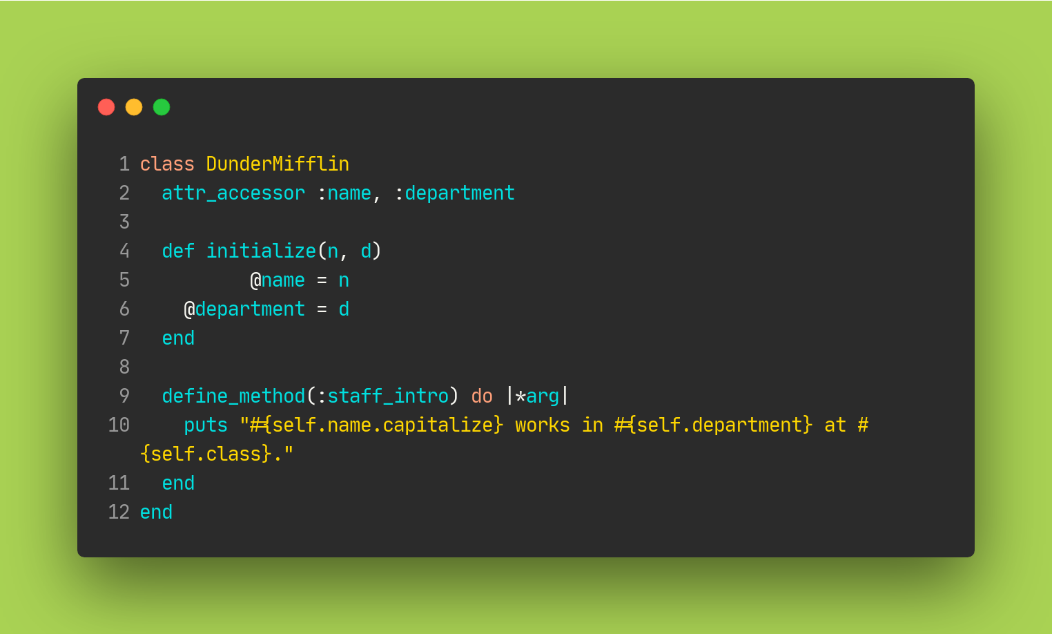 Example for metaprogramming in ruby with define_method