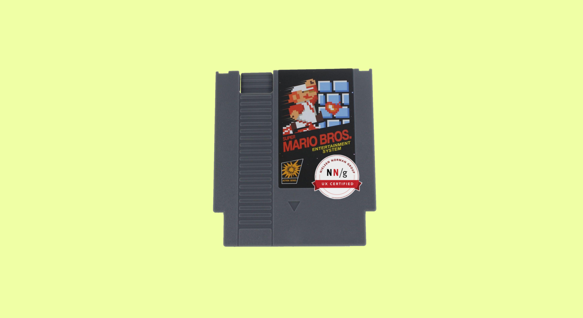 Super Mario Bros Cartridge with an super imposed NN/g Certification sticker
