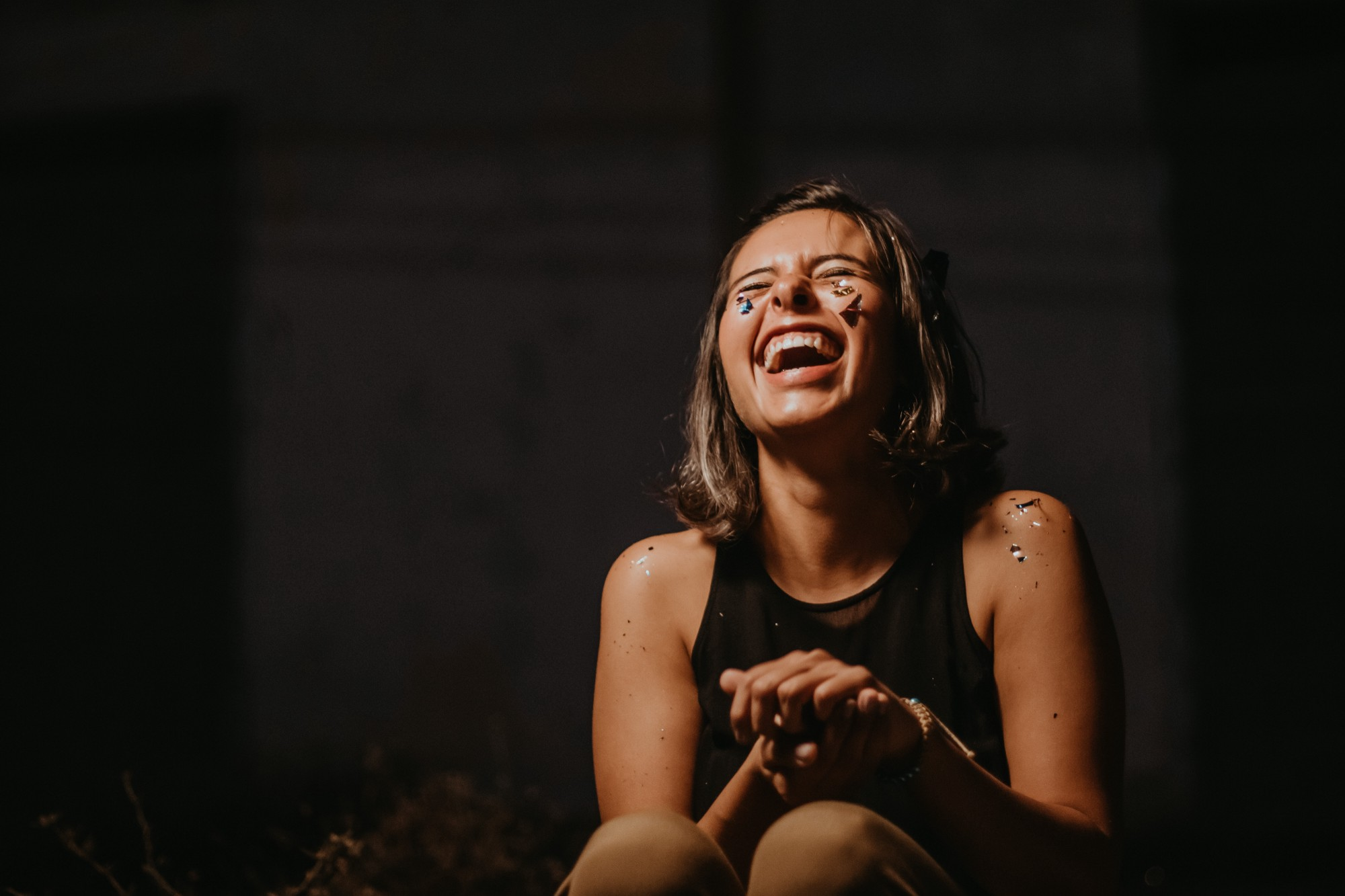 A girl laughing her hearts out.