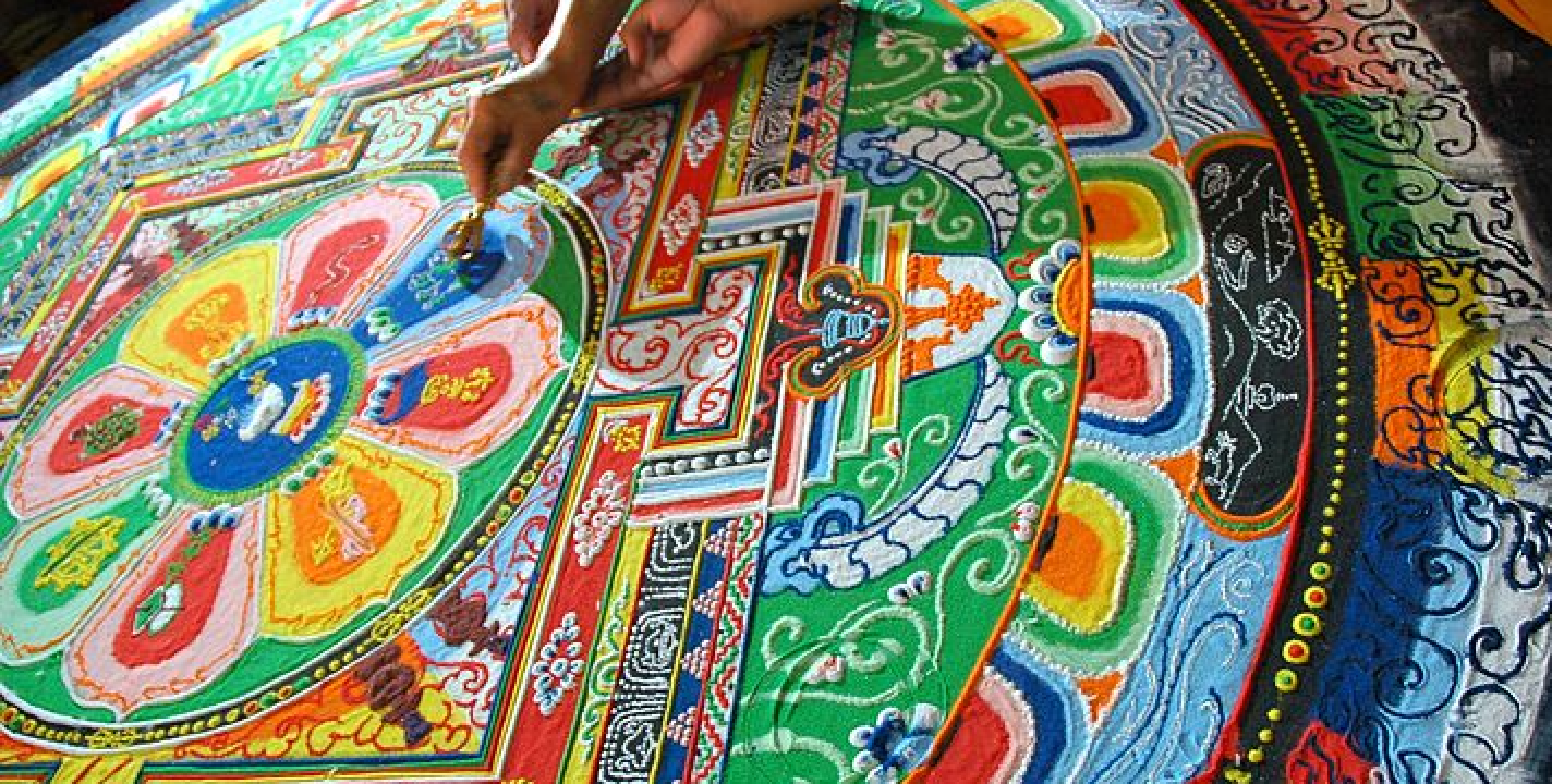 Sand mandala representing the impermanence of everything in life.