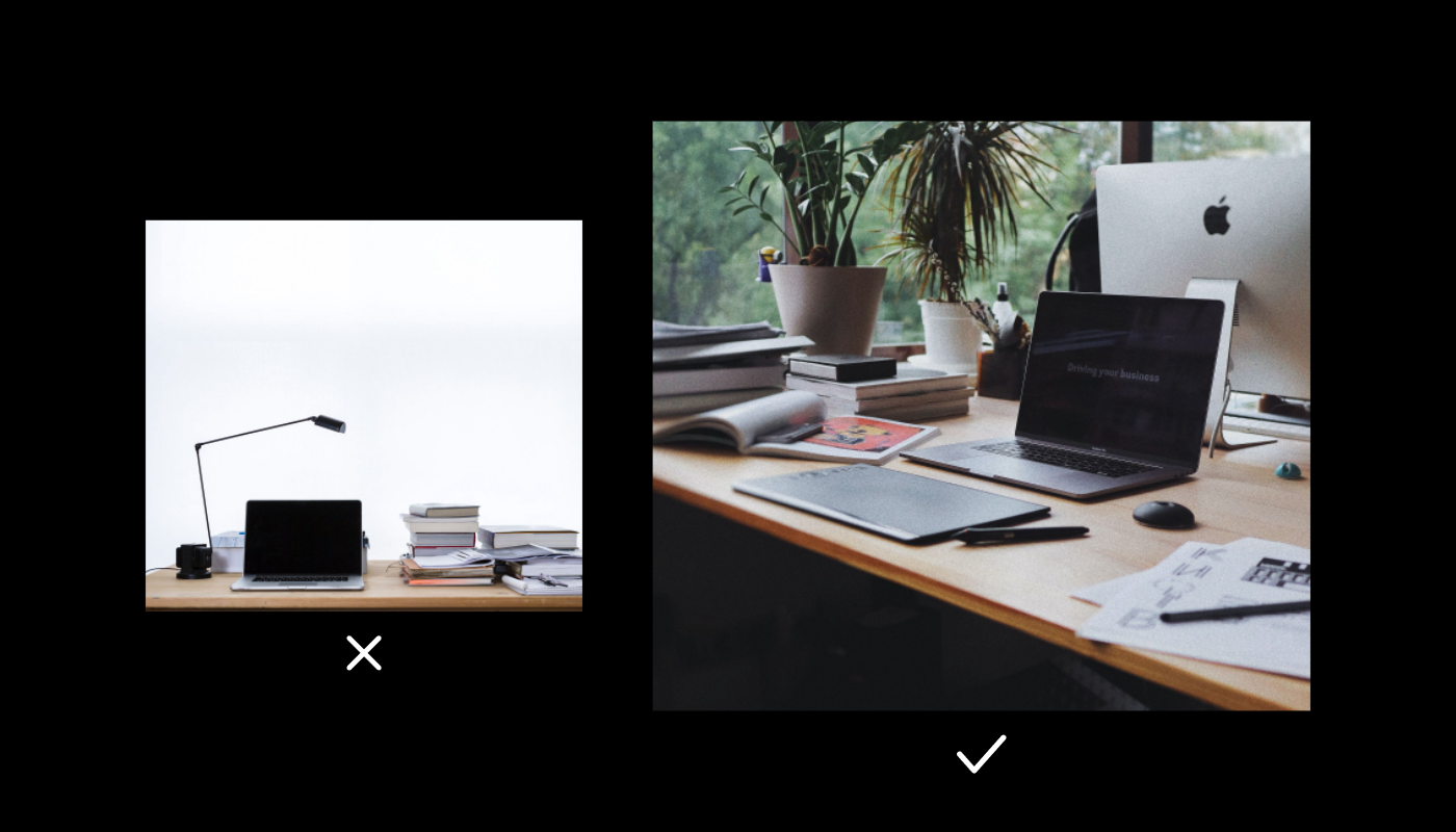 Two stock photos of a laptop on a desk. One is shot head on and feels staged, the other is at an angle and looks more natural.