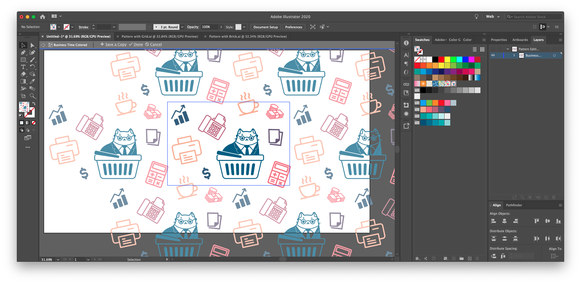 When you use illustrator create pattern, you can always go back to edit and recolor the pattern's contents. Save a copy of your repeating pattern to try out different variations without overwriting.