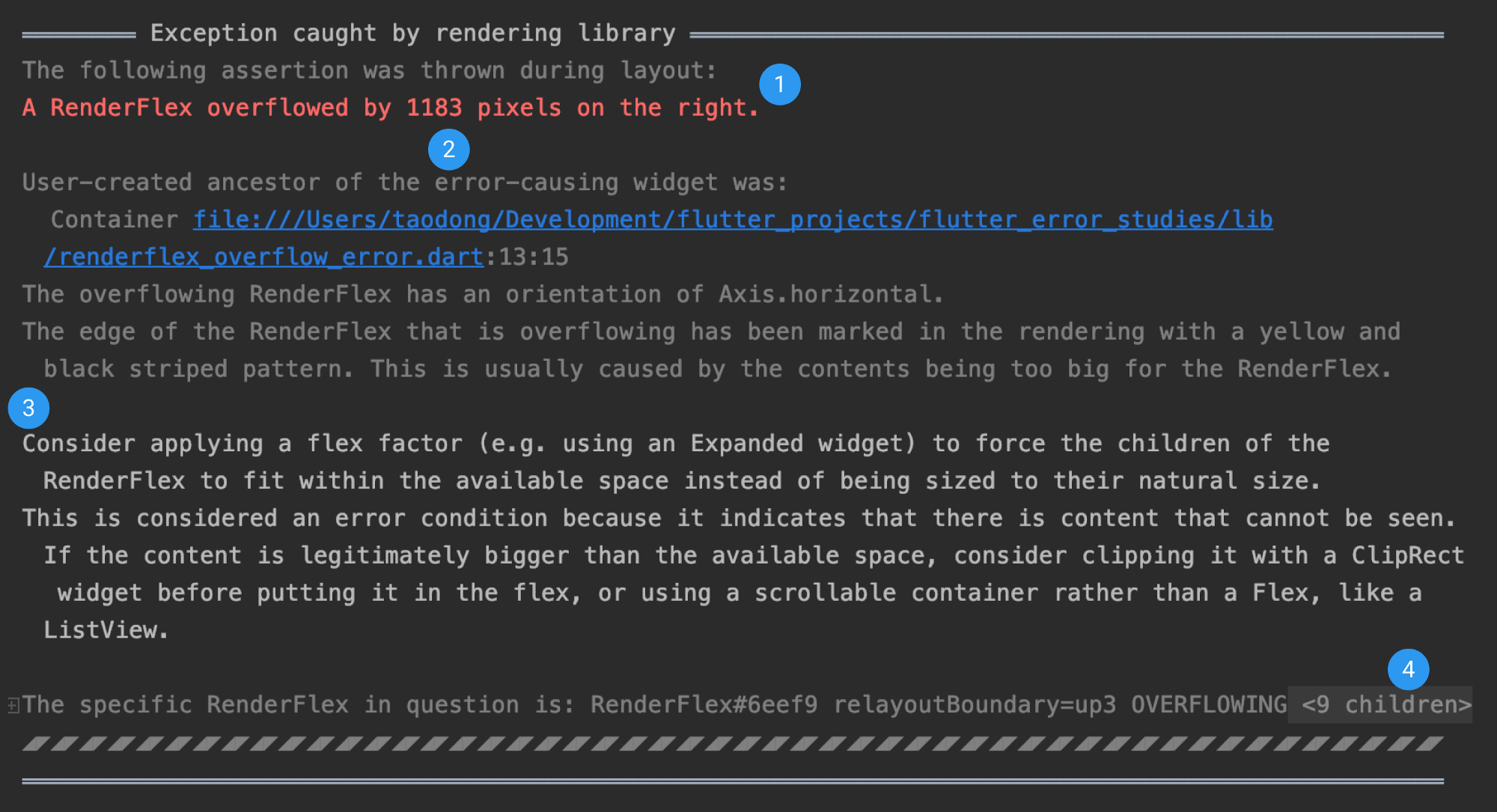An example of the new structured error message displayed to the user when a RenderFlex overflow error occurs.
