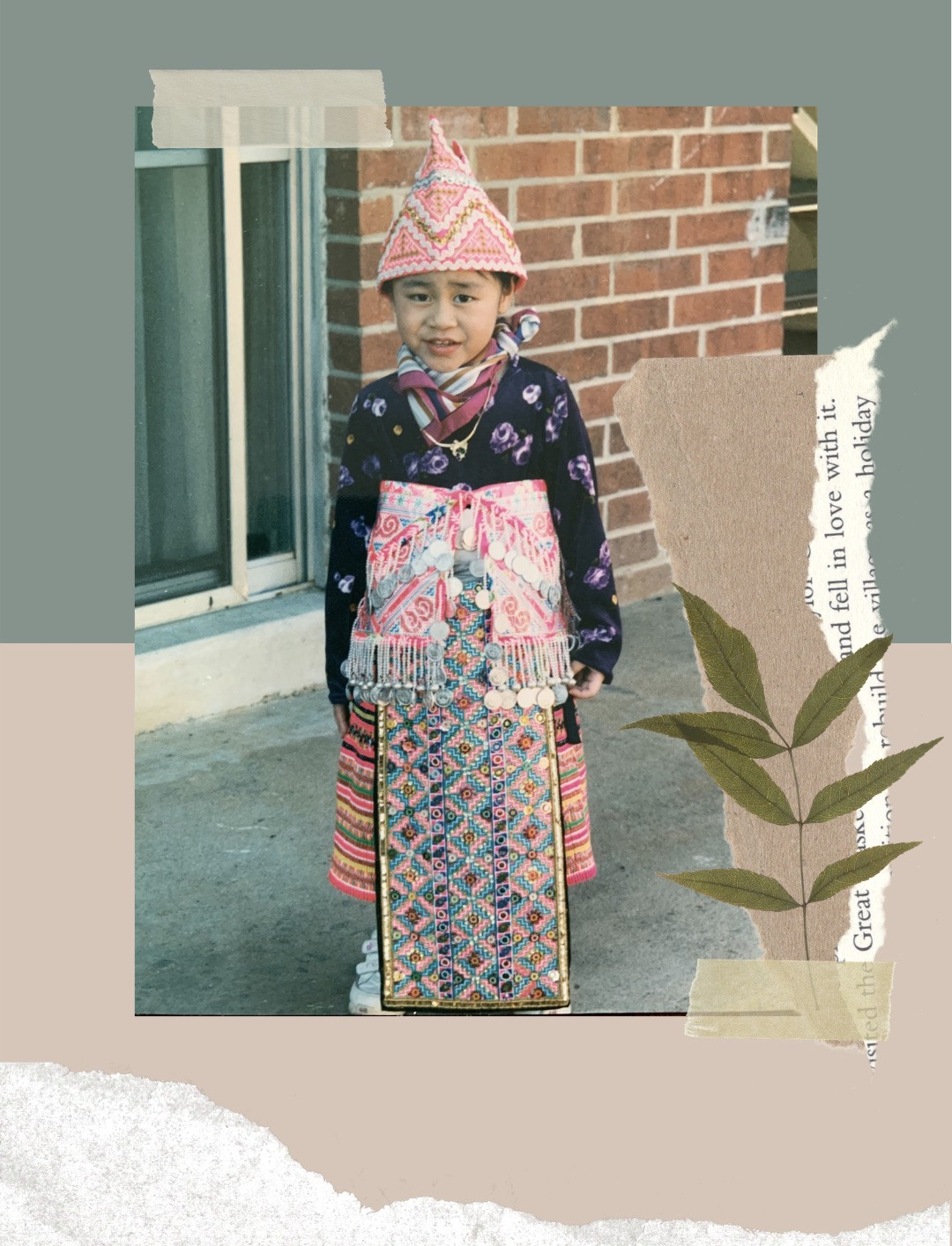 Toddler Sunshine sporting a very heavy traditional Hmong attire.