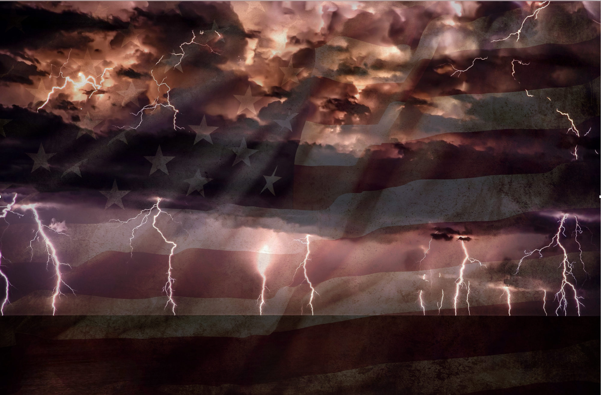 A dark, foreboding line of lightning bolts striking the ground in the distance, overlaying a US flag.