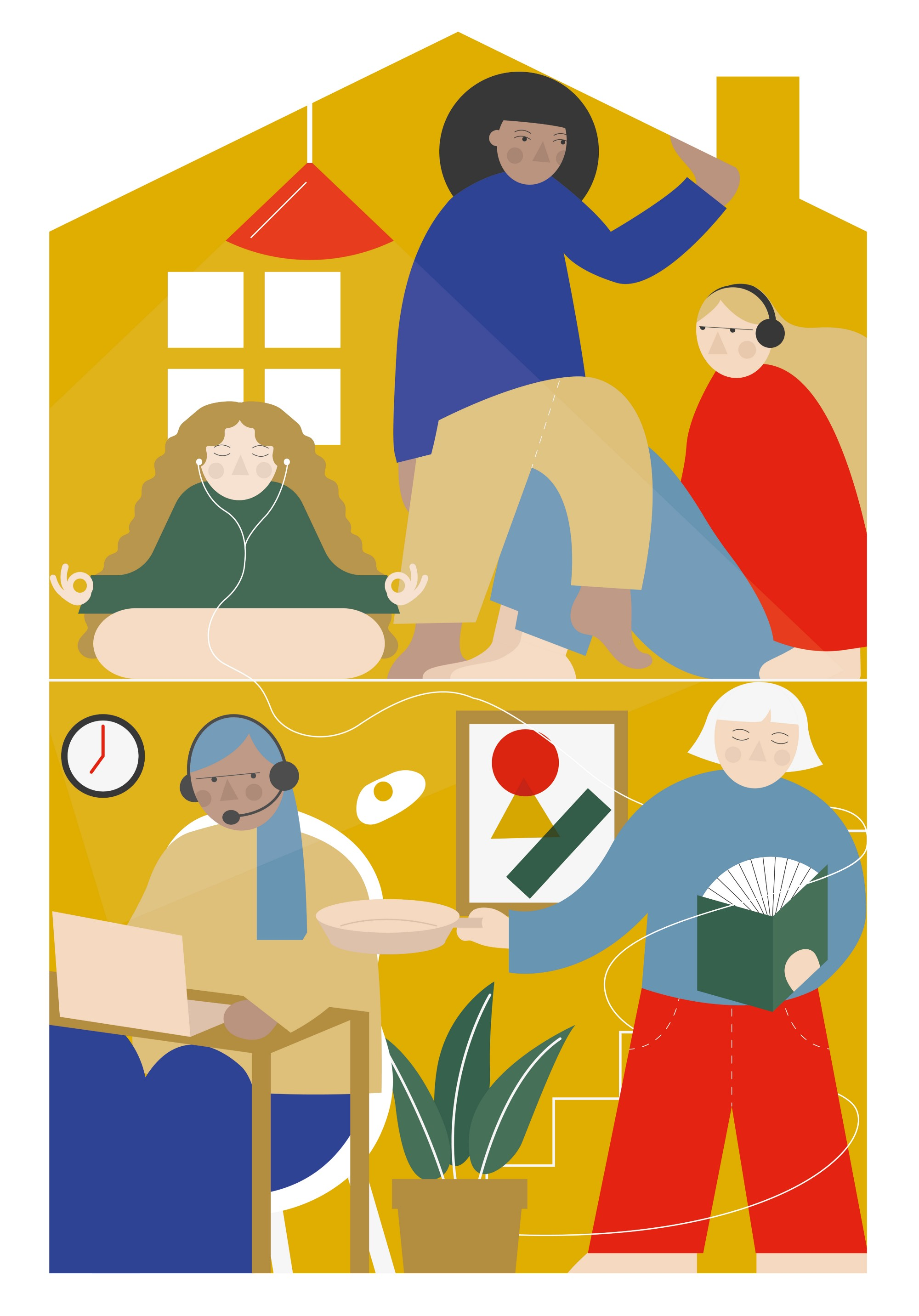 An illustration of five roommates crammed one on top the other. One is meditating, one cooking, one reading, one sitting.