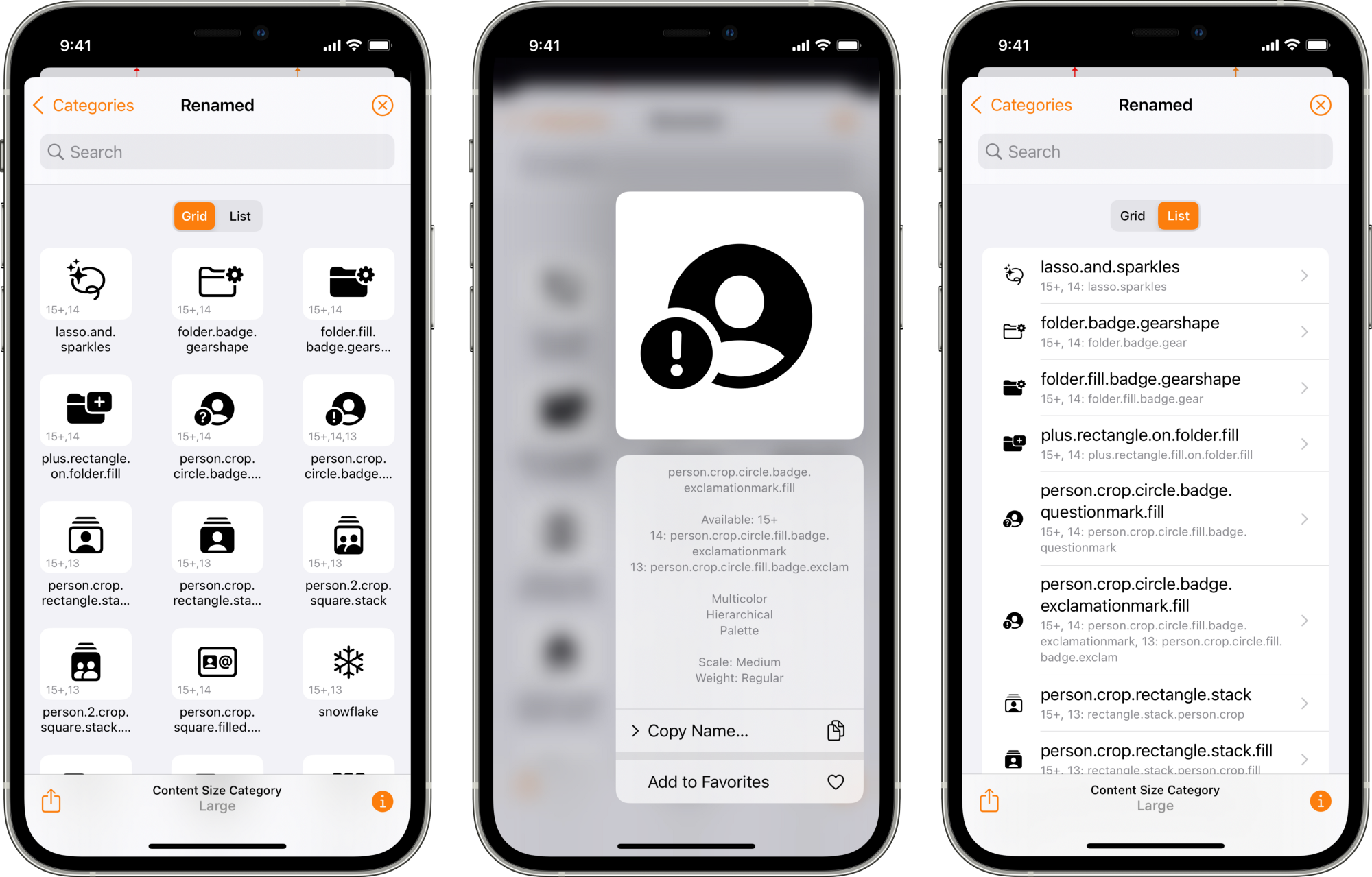 iOS 15 System Images 'Renamed' collection, context menu and List view in Adaptivity v8.0 on iPhone 12 Pro