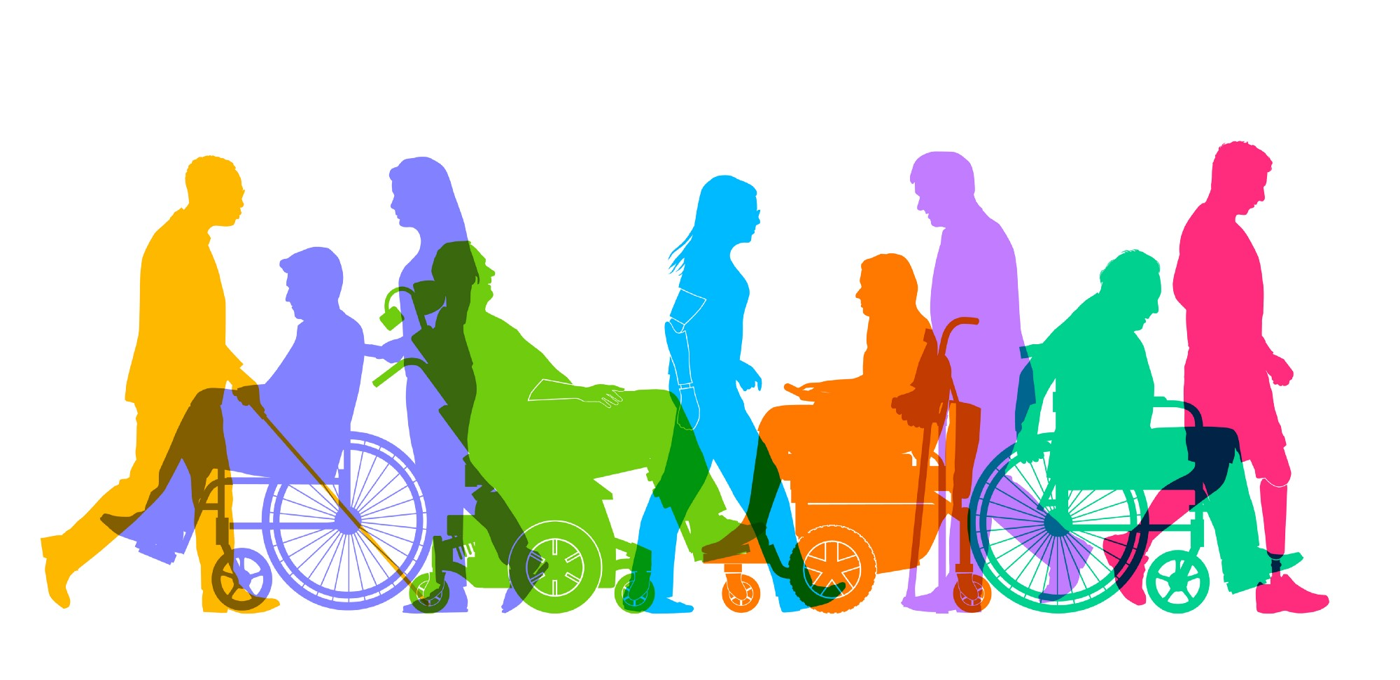 An illustration that depicts a group of people with different disabilities, including visual and motor.