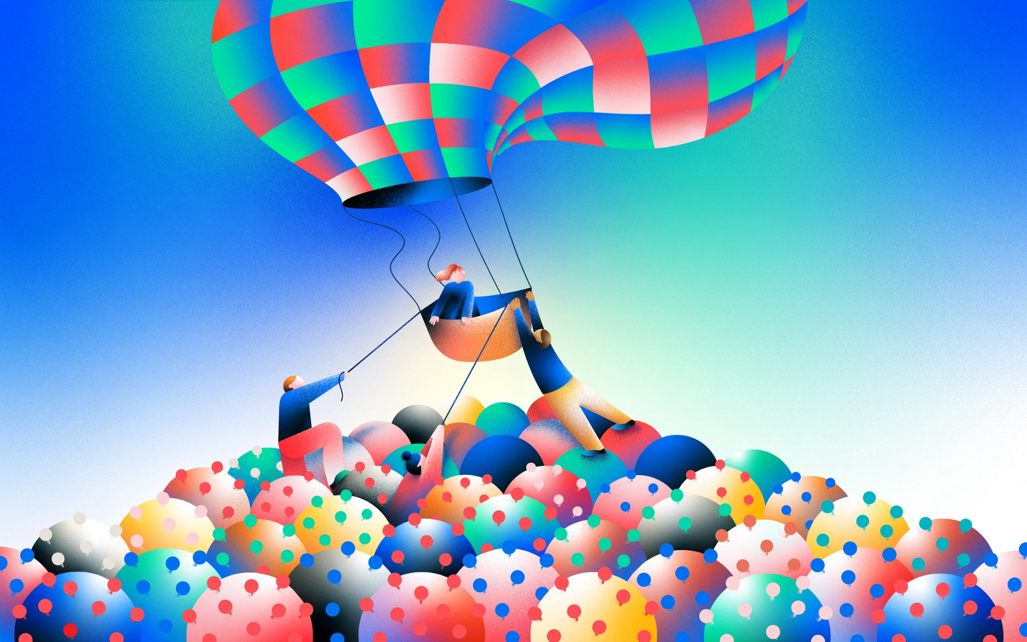 An illustration of a person about to fly away on a hot air balloon but others are pulling it down amongst a bed of covid.