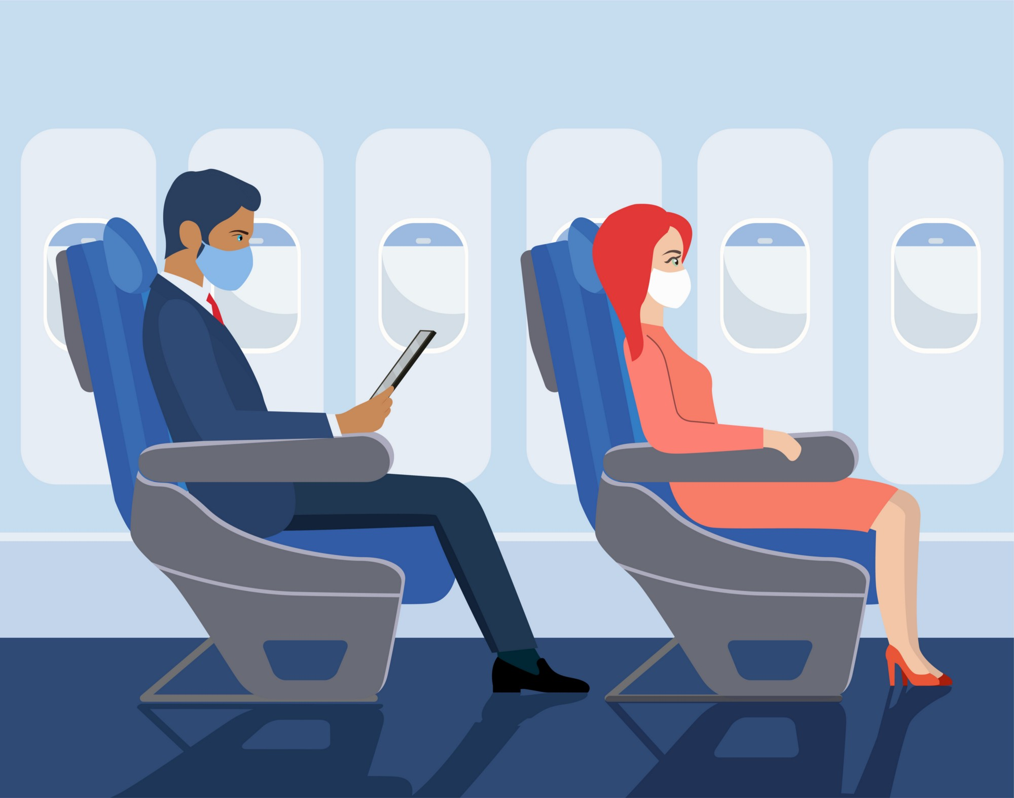 Animation of two masked passengers on a flight.