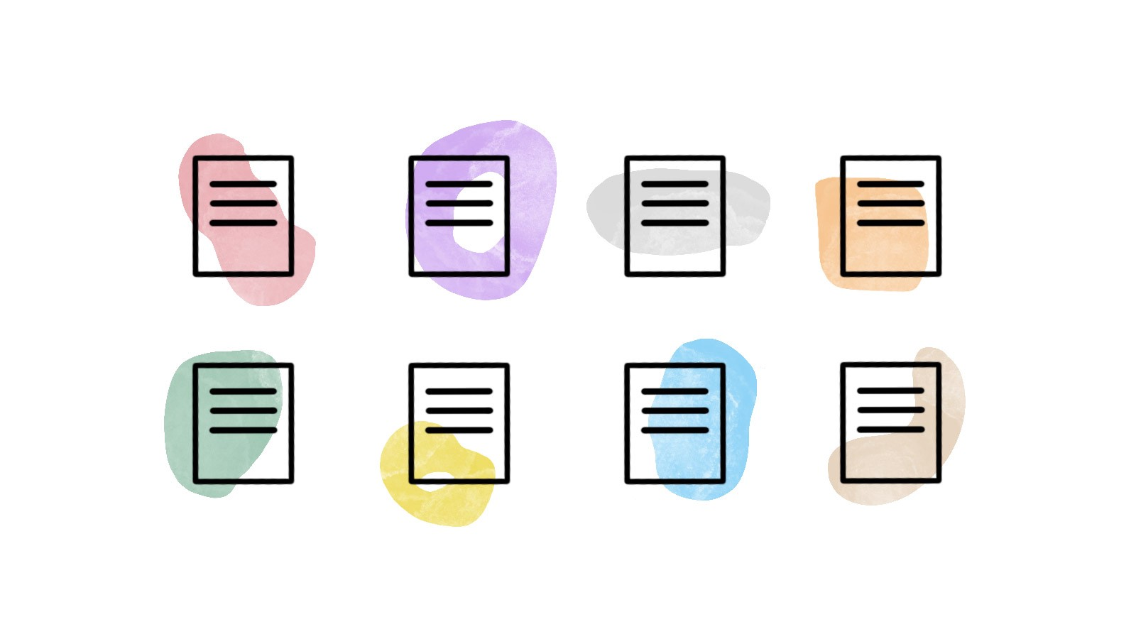 Illustration showing a number of story icons with brushstrokes of varying colors.
