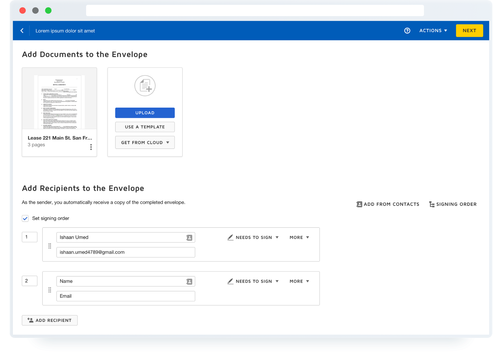 DocuSign's Send for Signature page uses page structure to help users navigate.