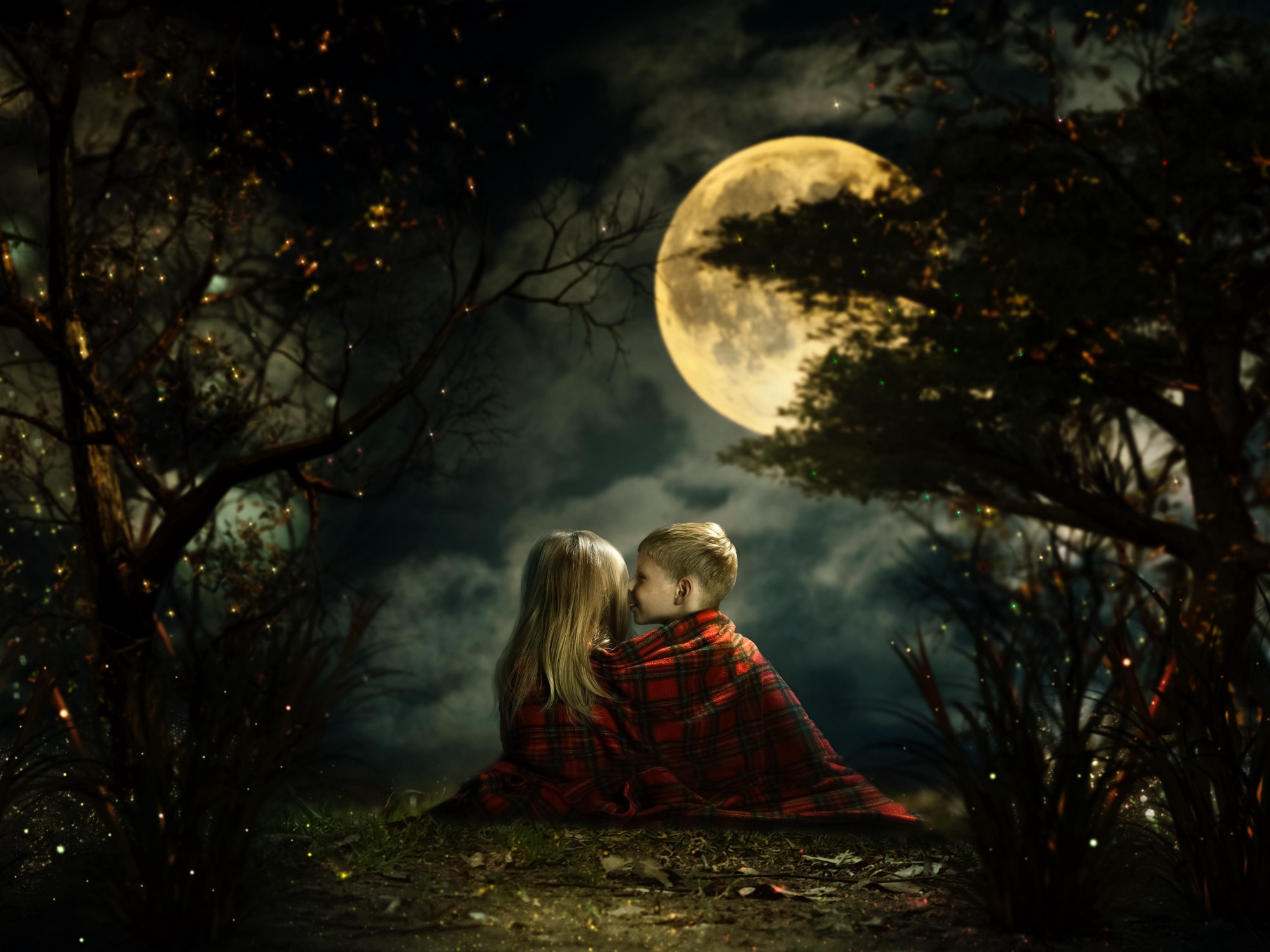 Children whispering in the fairy magic forest. Big moon, night, little boy and girl. Picture—a fairy tale for children