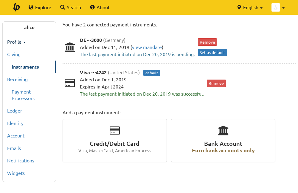 "Screenshot of the new ""Payment Instruments"" page showing a card and a bank account"