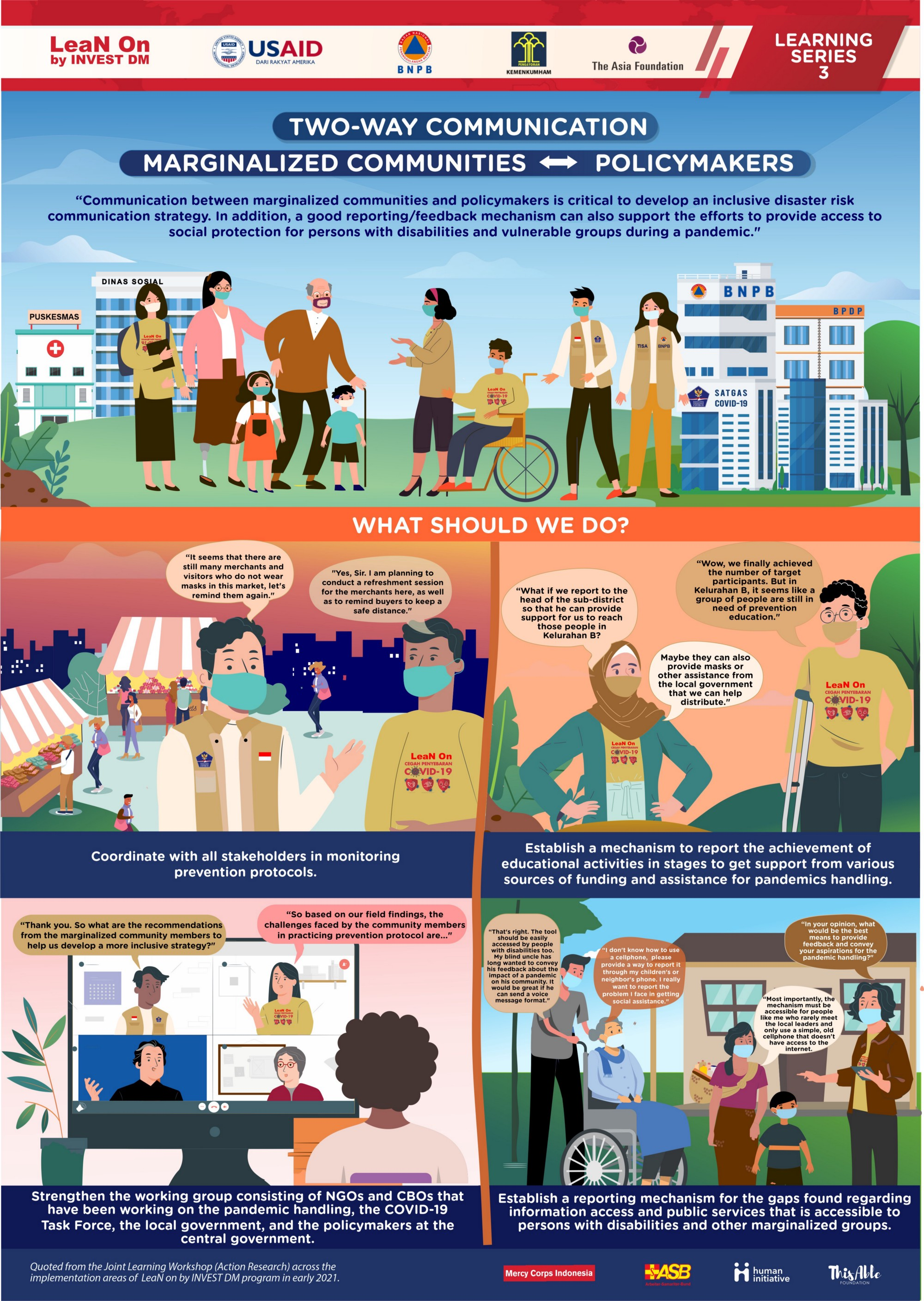 This infographic illustrates the importance of two-way communication access between marginalized groups and policymakers for a more effective and inclusive pandemic response strategy. An audio version of the infographic will be added to this page soon.