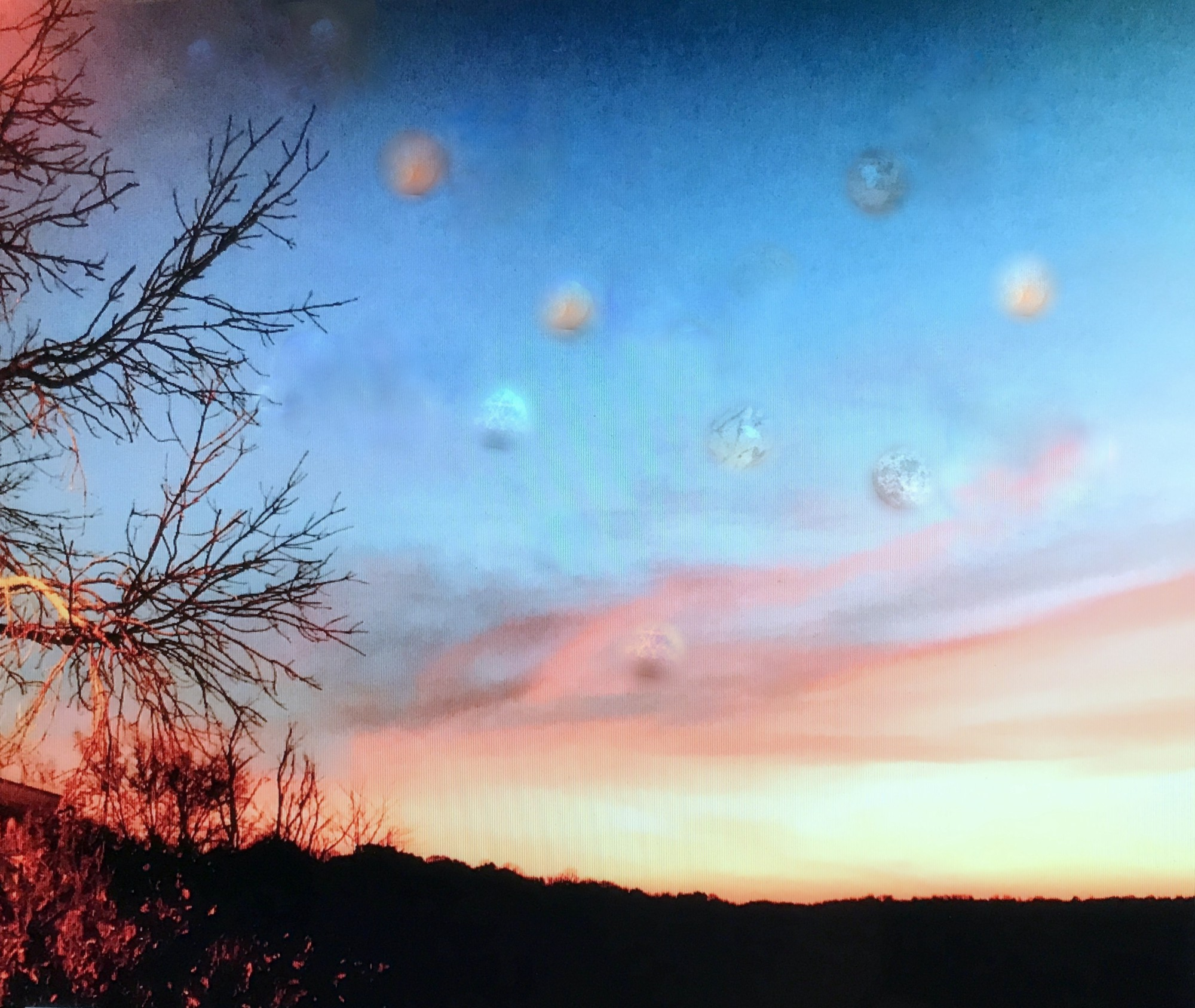 Photograph of a sunset next to a some skeletal tree branches the dawning sky is dotted with many planets of different sizes and colors