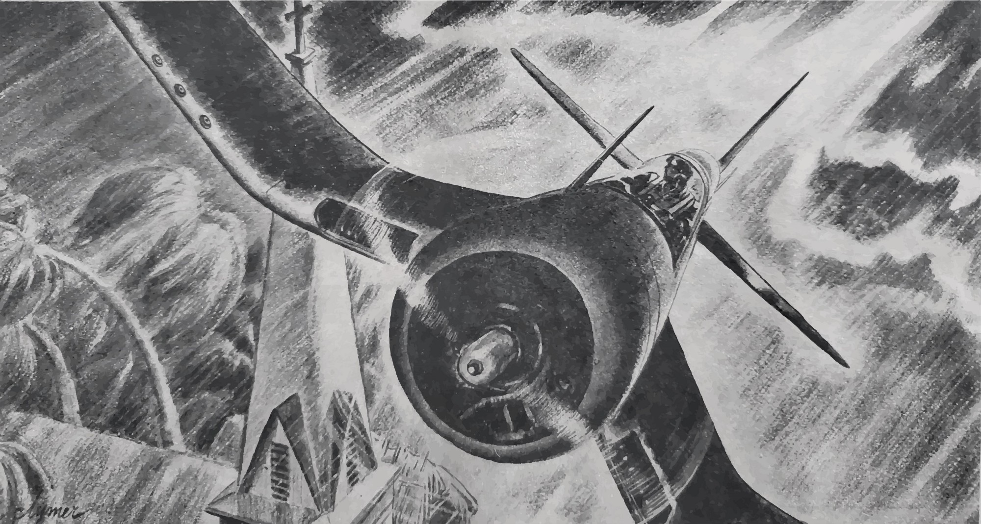 Illustration by John Ford Clymer for Leatherneck Magazine. 1945. Corsair flying over a church steeple through a cyclone.