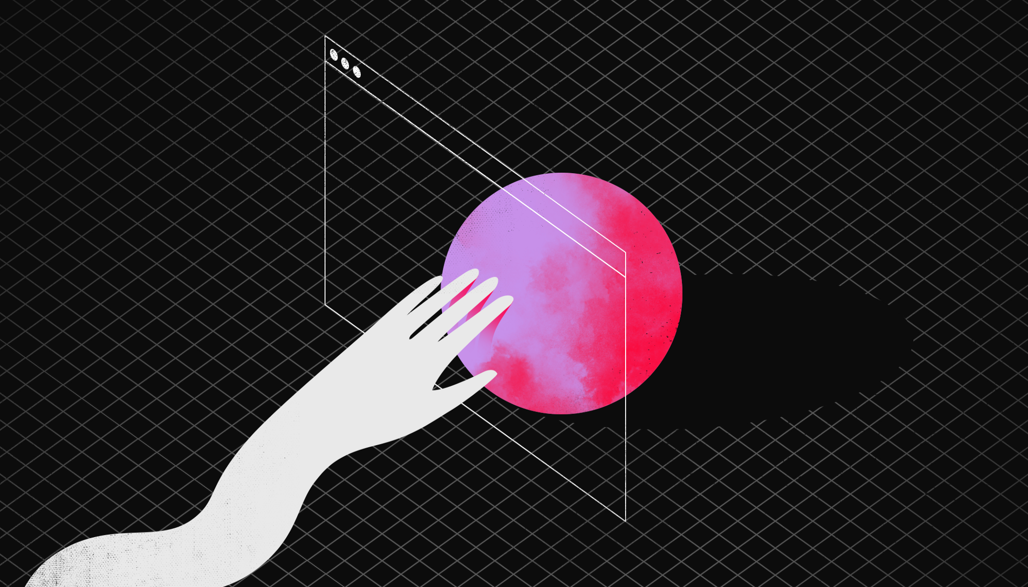 An illustration depicting a hand reaching into a digital browser window and physical sphere.