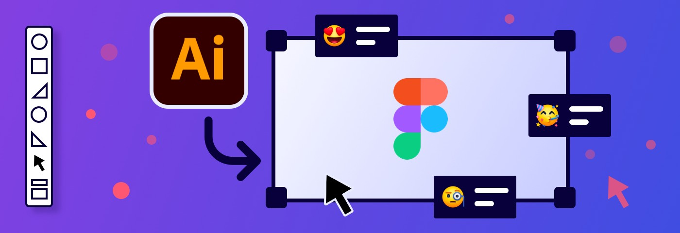 Cover illustration of an Illustrator file getting converted to Figma and emojis floating around critiquing the file.