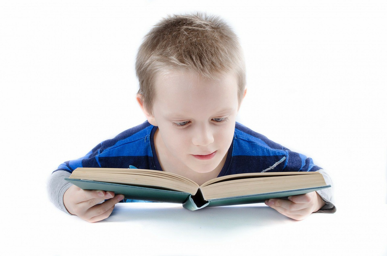 A young boy in a striped blue shirt reading a book