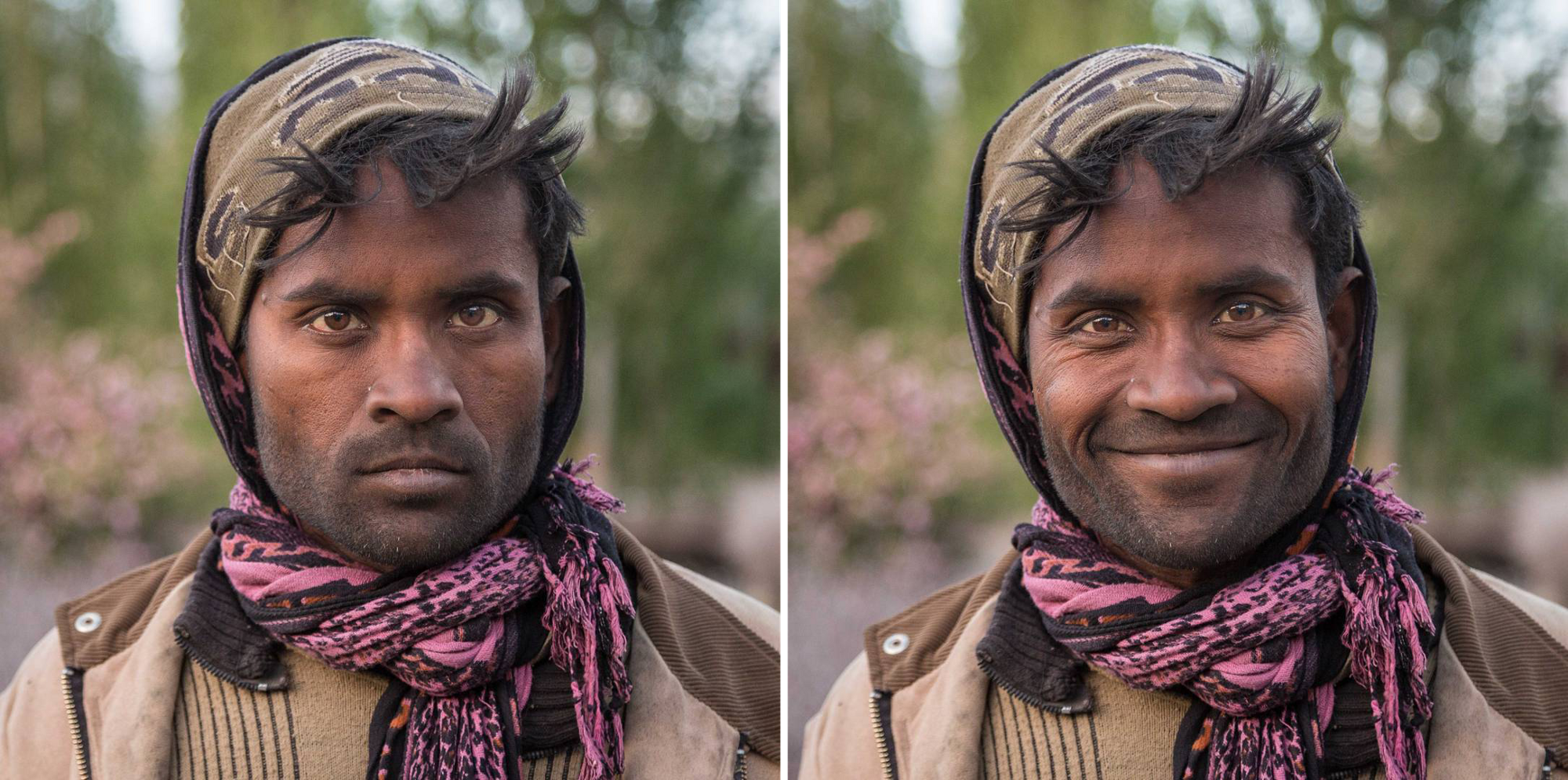 Two photos of a man wearing a pink scarf and head covering, on the left he looks serious and on the right he is smiling