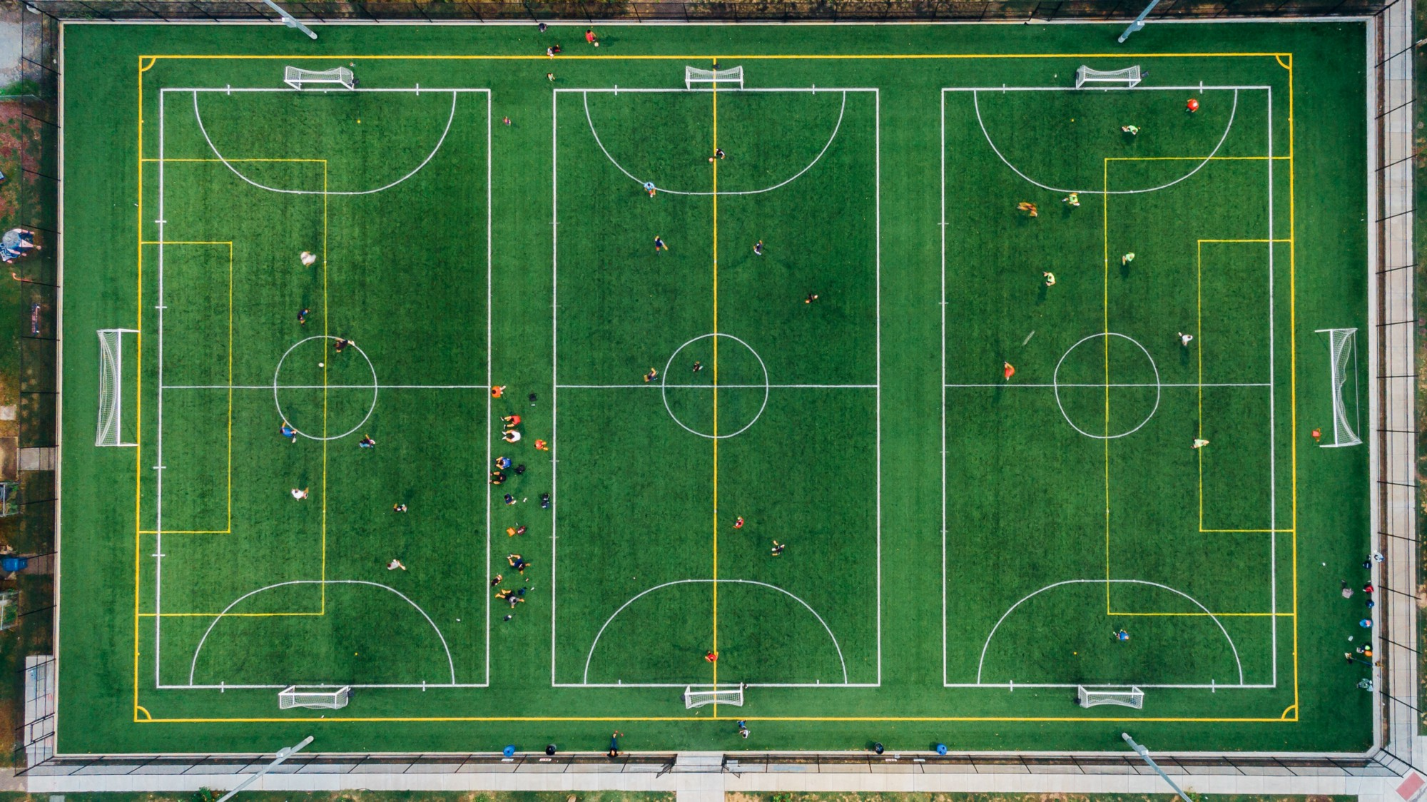 An aerial view of three sports fields.