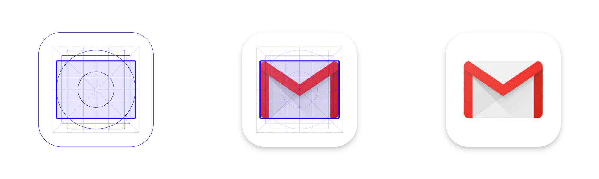 The Gmail icon uses the landscape rectangle keyline from Material's Play Store grid