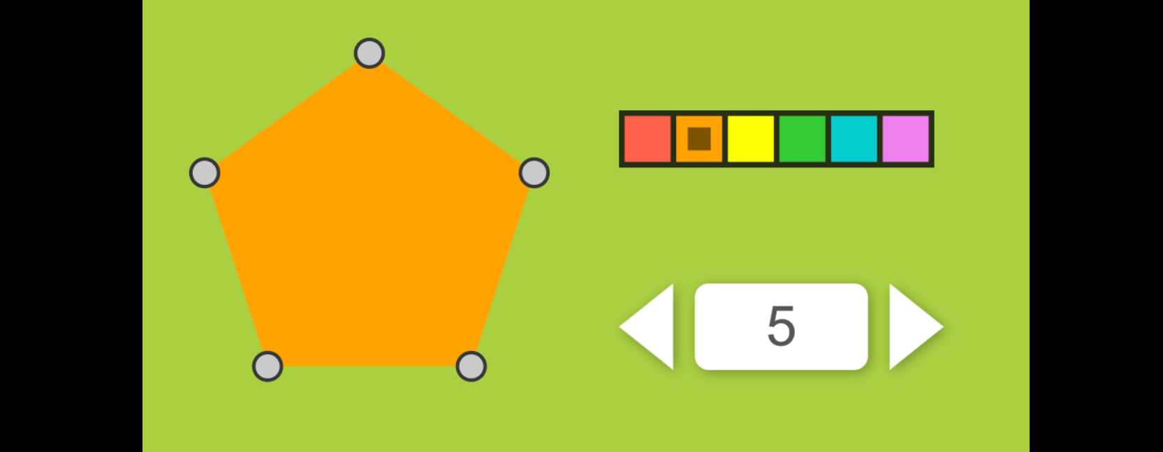 an example of setting the sides of a polygon with a stepper and the color with a colorpicker. Click link beneath to try