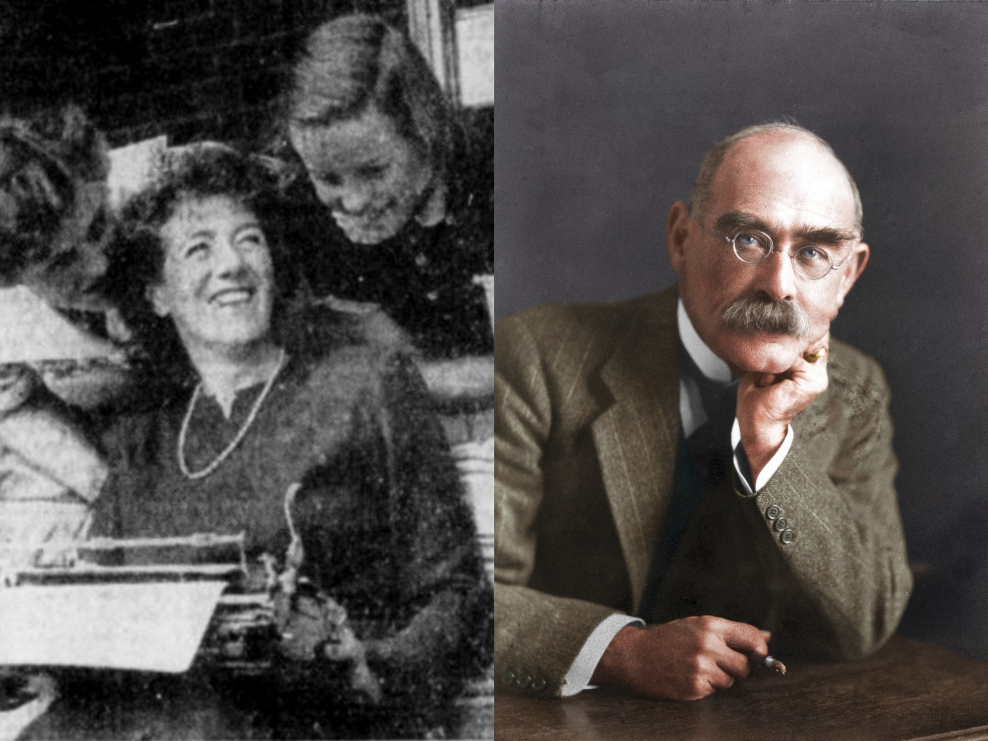 Enid Blyton and Rudyard Kipling from Wikimedia commons