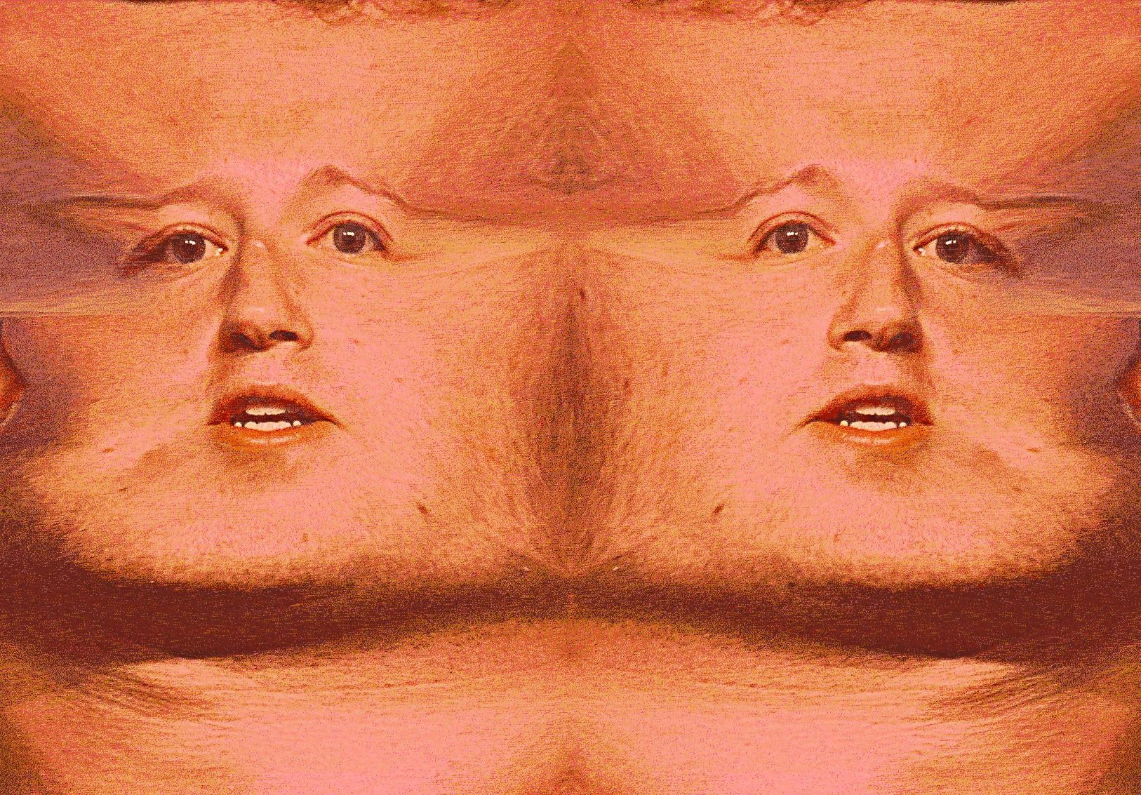Photo-illustration where a portrait of Mark Zuckerberg has been manipulated by stretching skin, to imply close-up pornographic images, where human flesh covers the entire image frame.