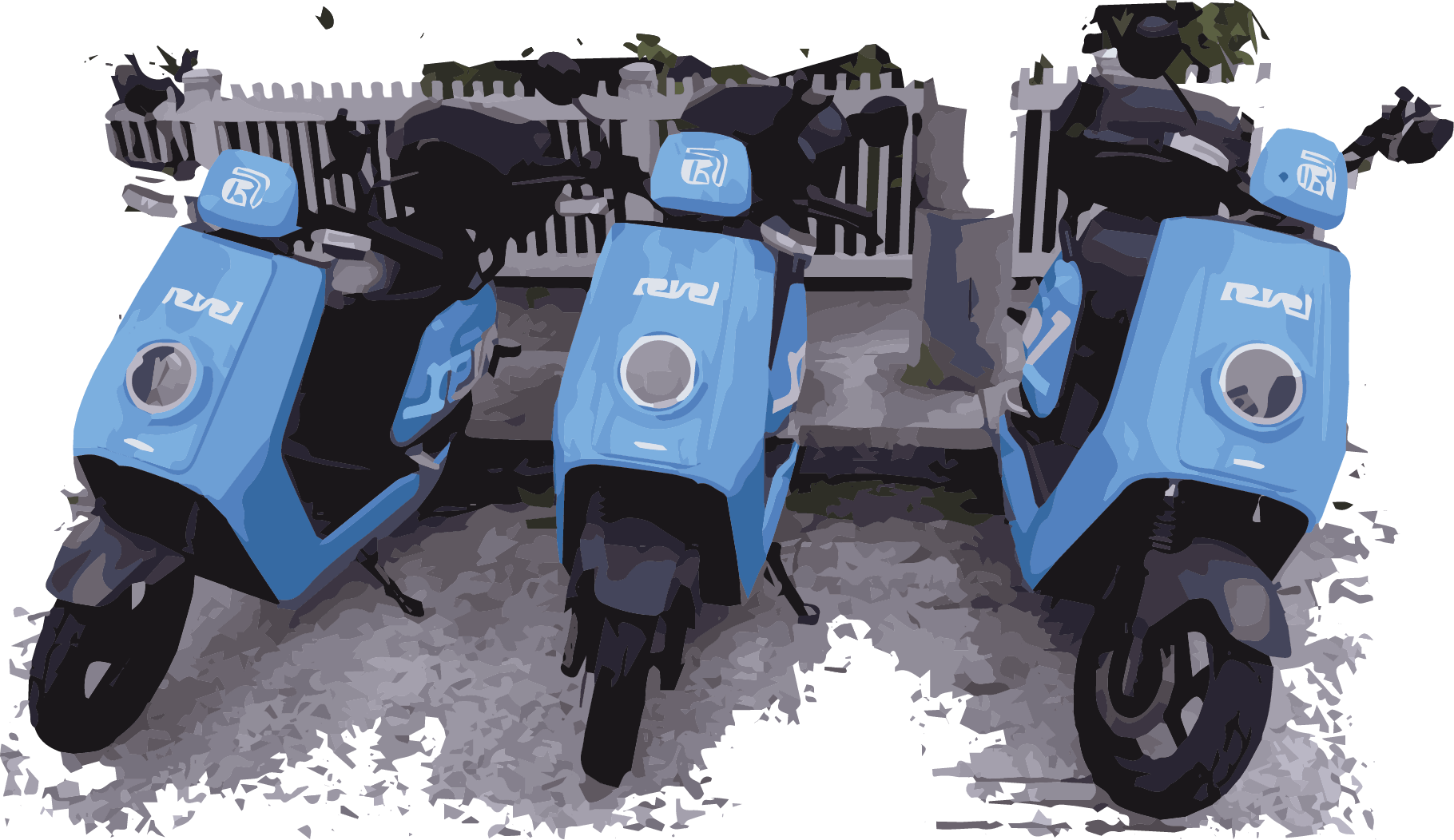 An image of 3 Revel scooters parked in a row