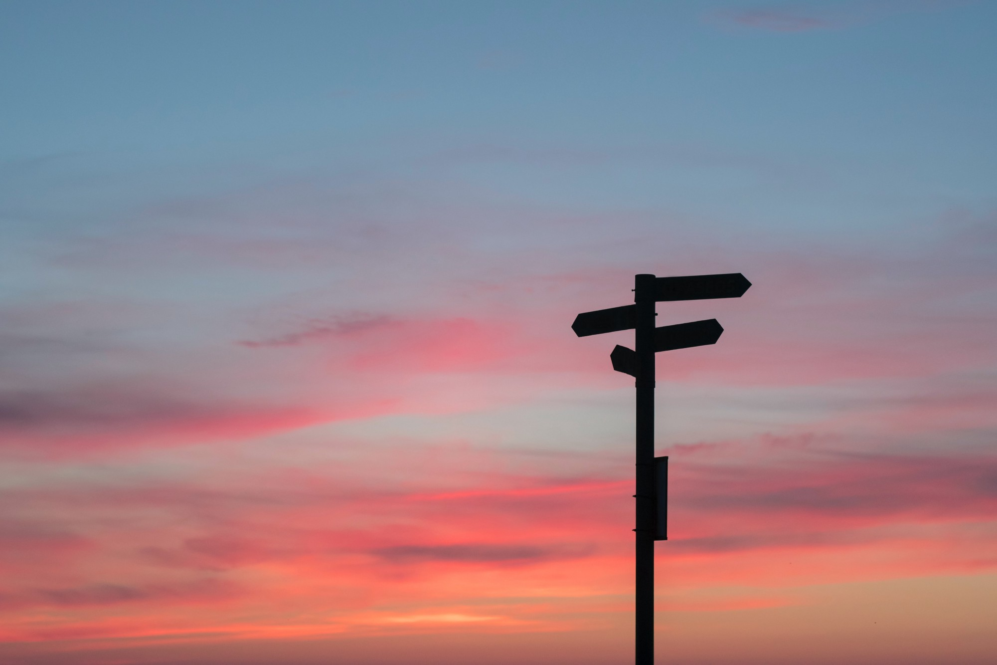 Sign post during a sunset