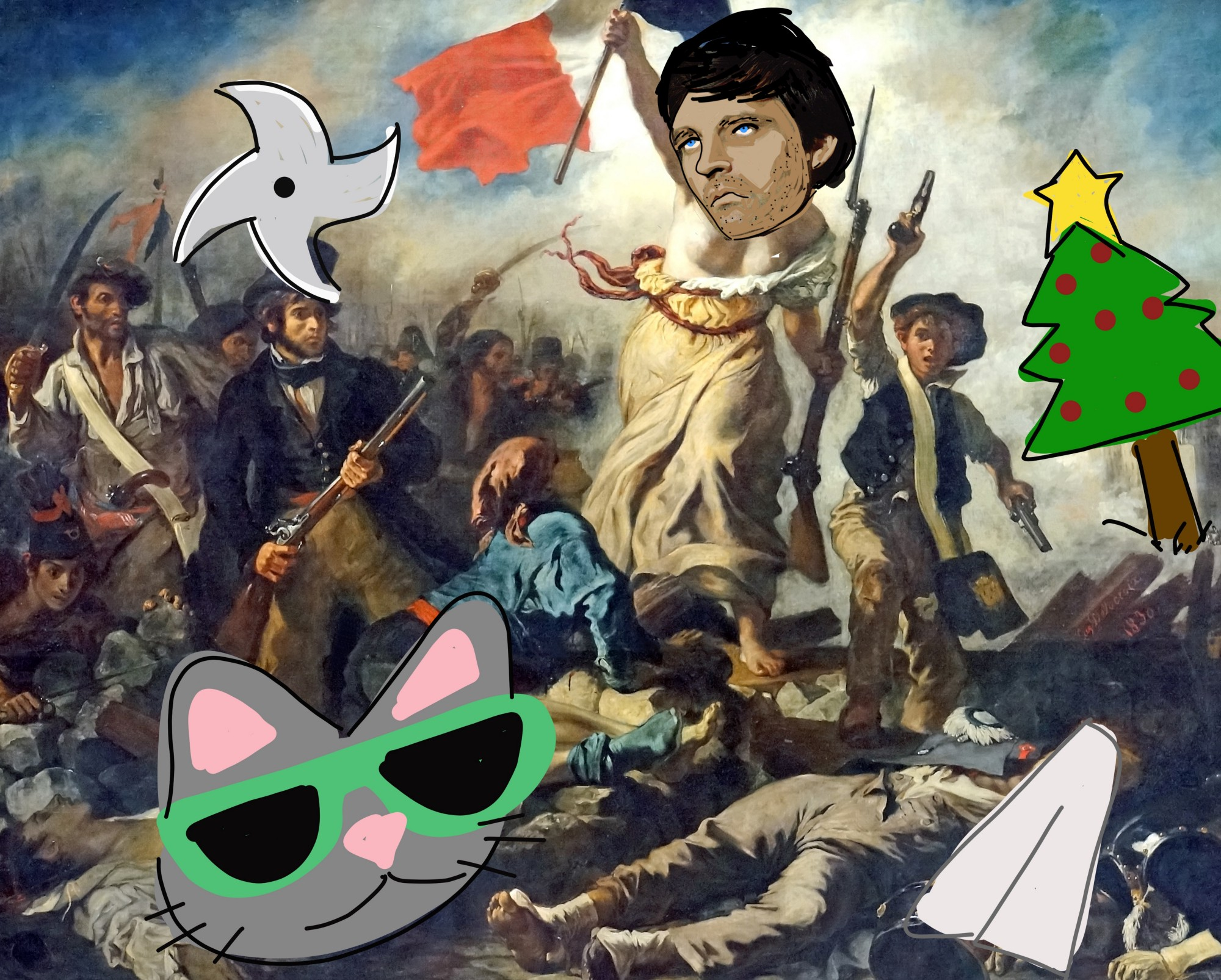 Delacroix's Liberty Leading the People, with cat, tree, throwing star, napkin, and Alan Alda